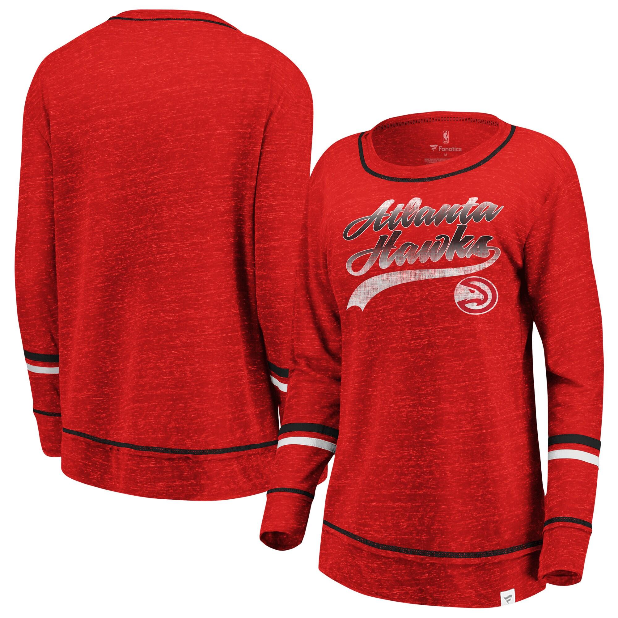 Atlanta Hawks Fanatics Branded Women's Dreams Sleeve Stripe Speckle Long Sleeve T-Shirt - Heathered Red/Black