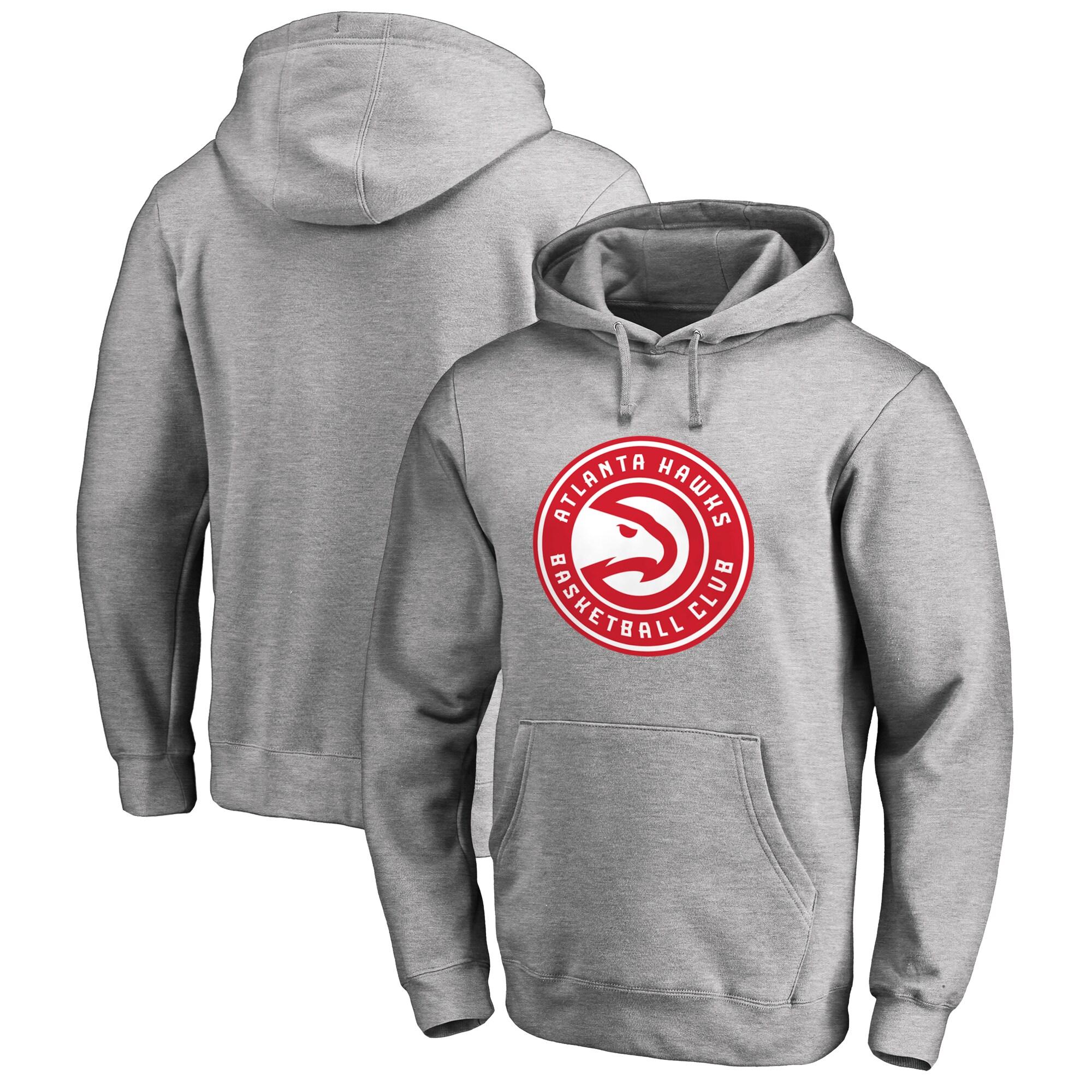 Atlanta Hawks Primary Logo Pullover Hoodie - Heather Gray