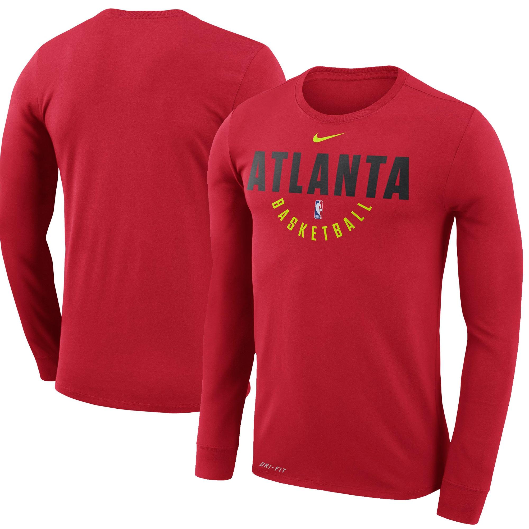 Atlanta Hawks Nike Practice Long Sleeve Performance T-Shirt - Red