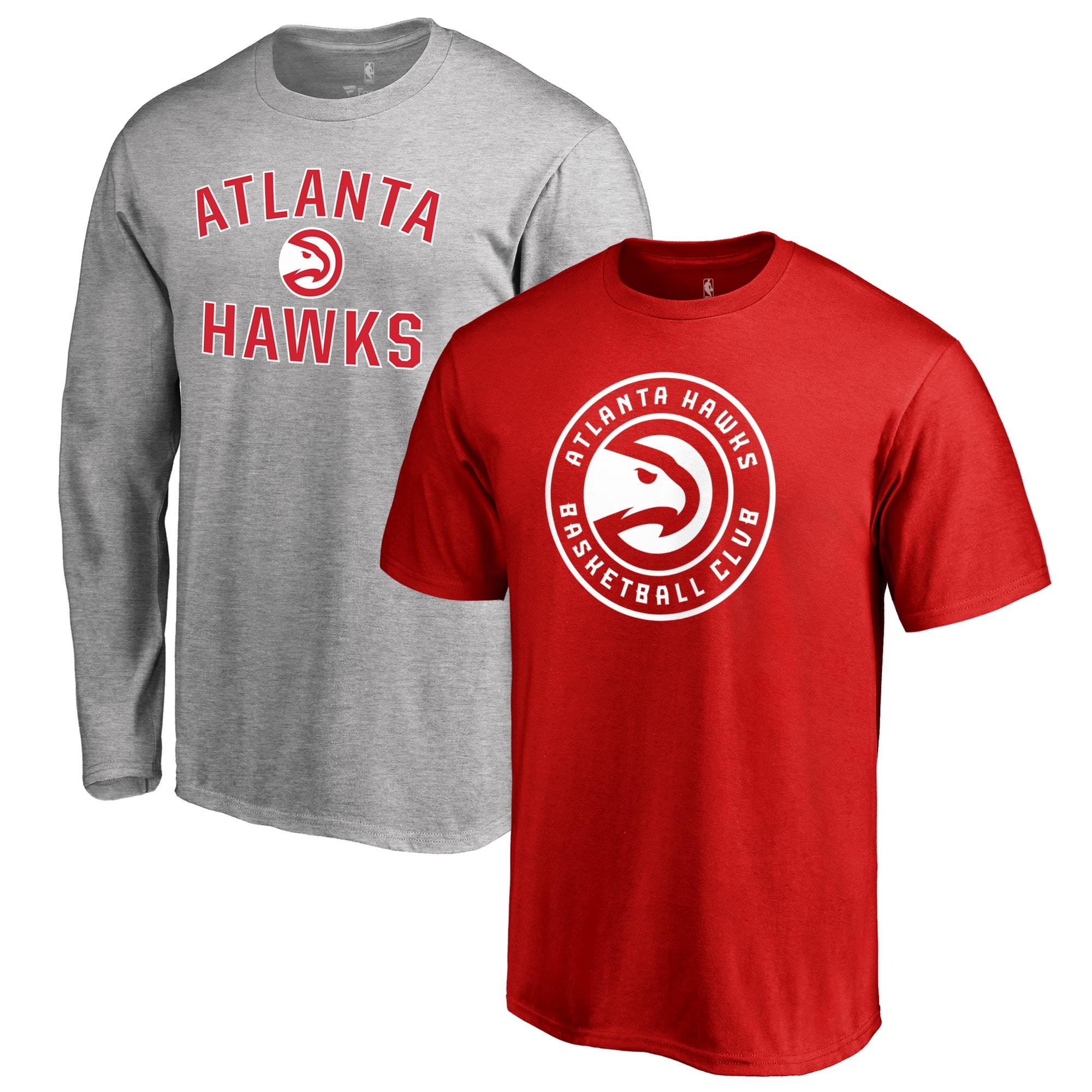 Atlanta Hawks Fanatics Branded Big & Tall T-Shirt Combo Set - Red/Heathered Gray