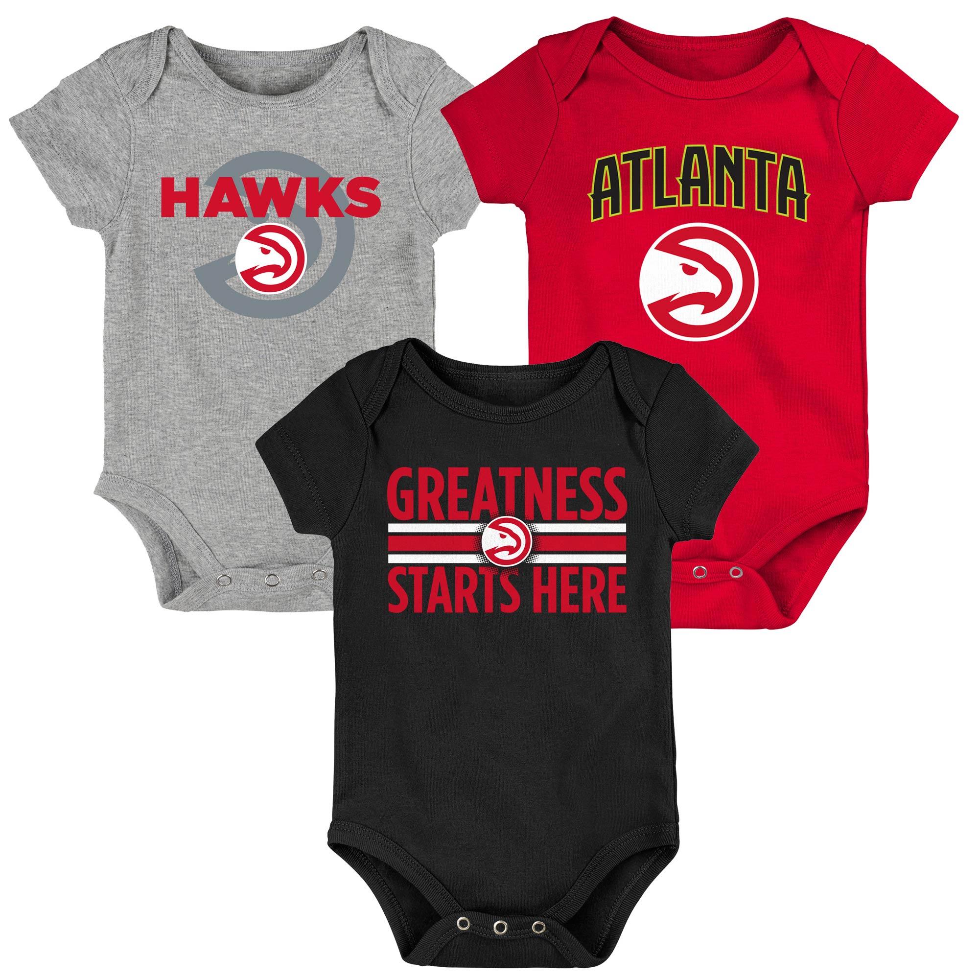 Atlanta Hawks Newborn & Infant Three-Pack Bodysuit Set - Red/Black/Gray