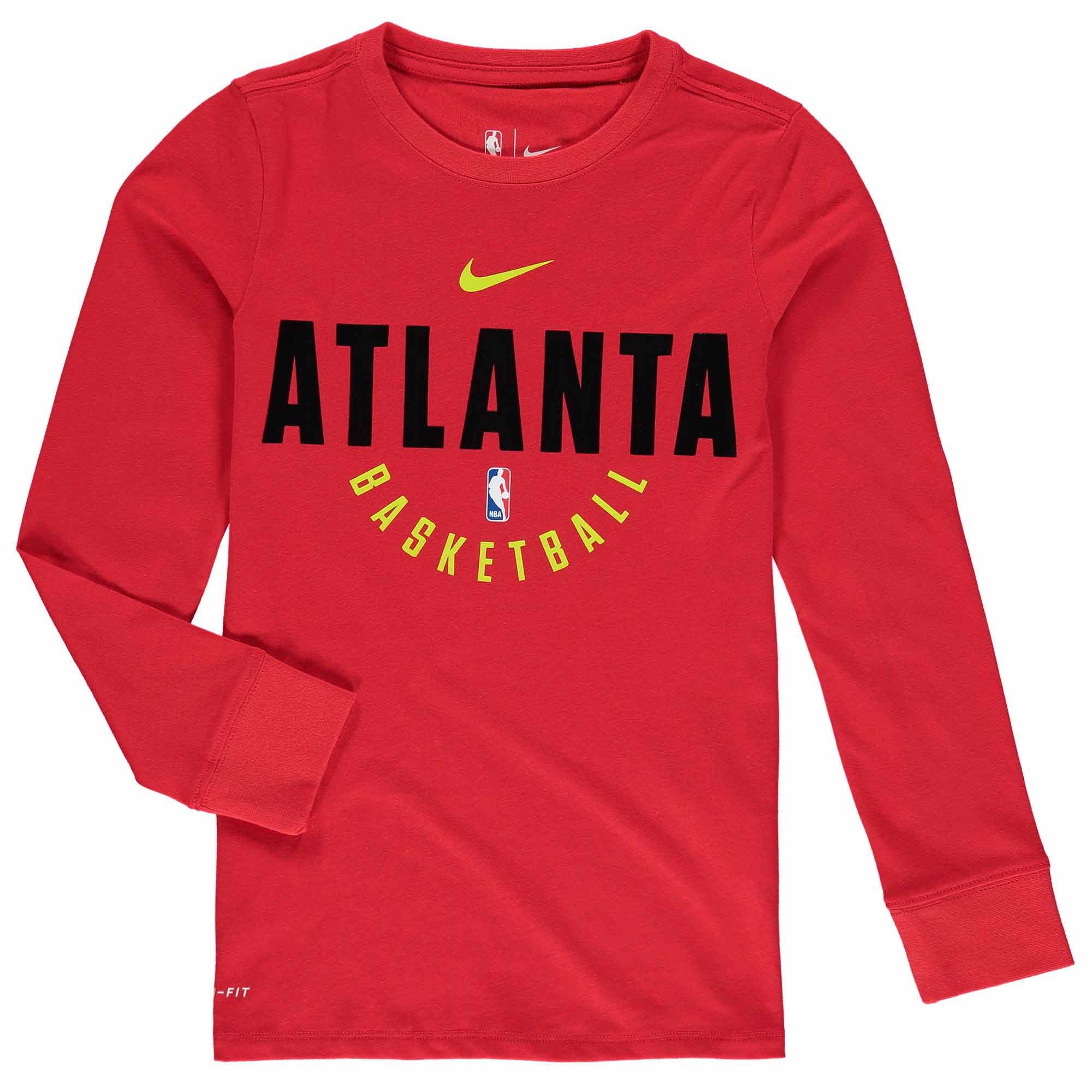Atlanta Hawks Nike Youth Elite Performance Practice Long Sleeve T-Shirt - Red