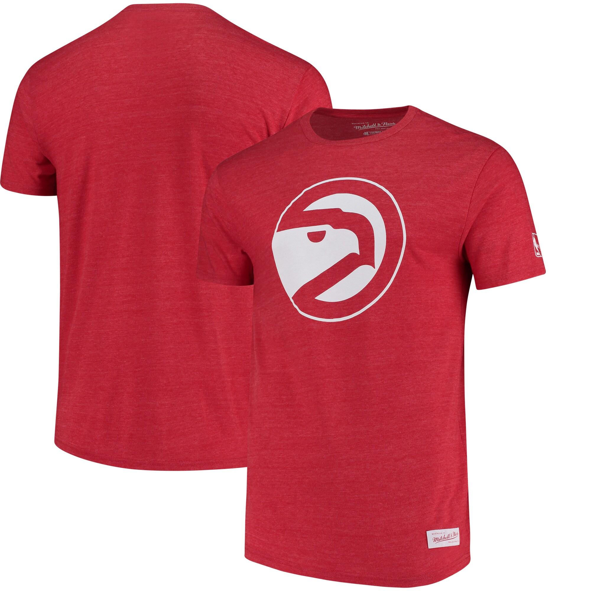 Atlanta Hawks Mitchell & Ness Hardwood Classics Throwback Logo Tri-Blend T-Shirt - Heathered Red