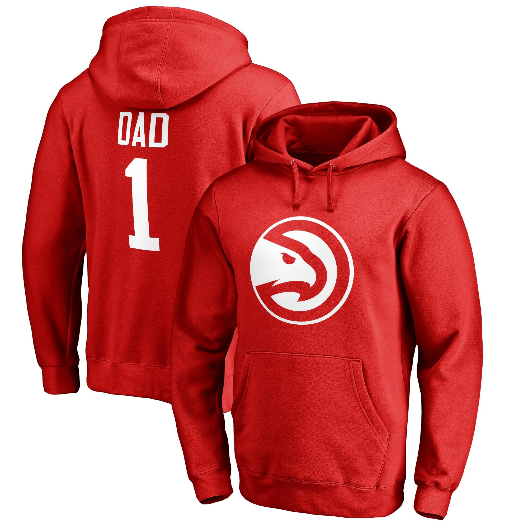 Atlanta Hawks #1 Dad Pullover Hoodie - Red