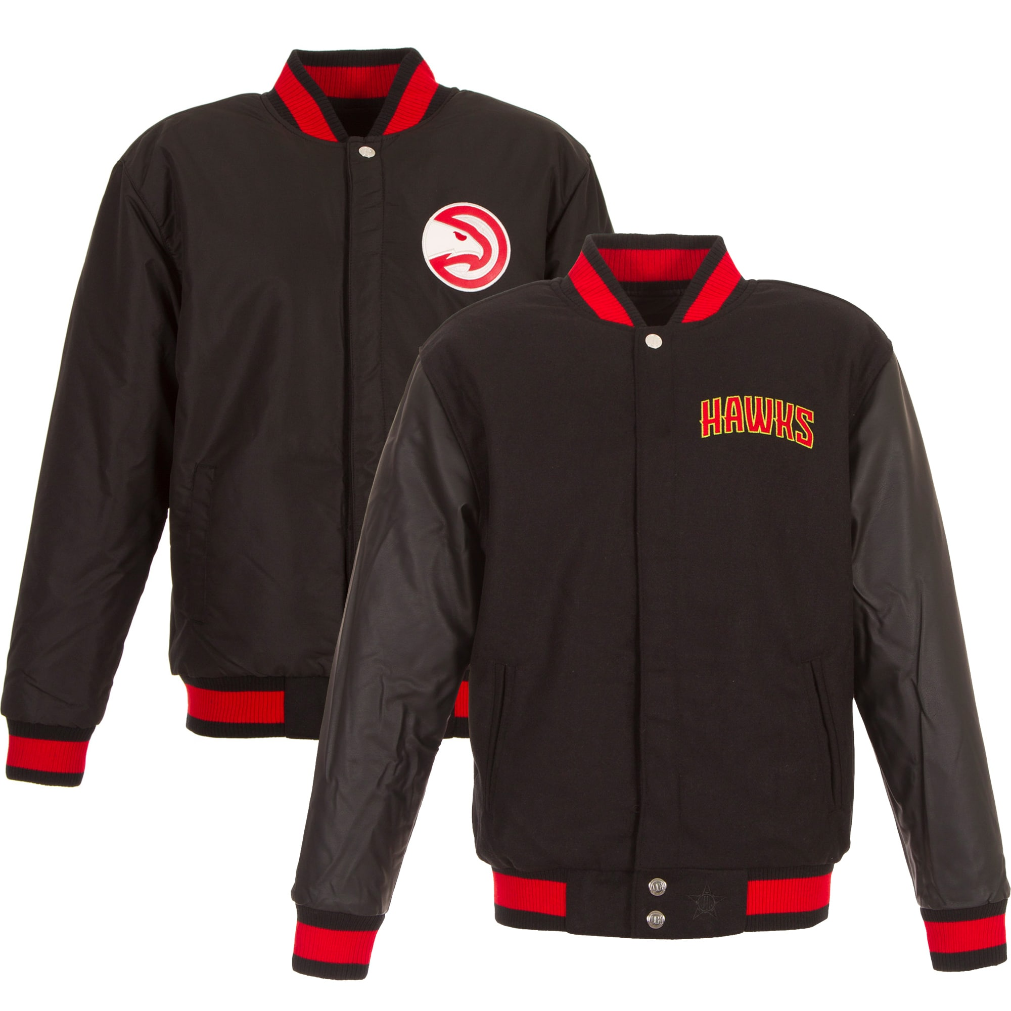 Atlanta Hawks JH Design Reversible Polyester Jacket with Faux Leather Sleeves - Black