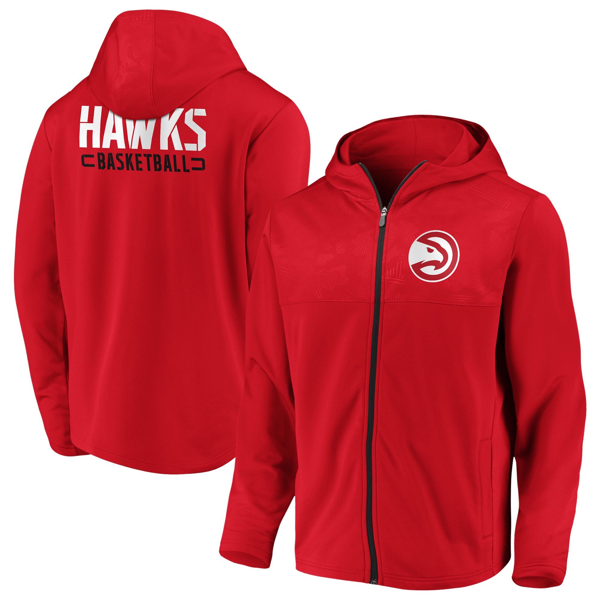 Atlanta Hawks Fanatics Branded Iconic Defender Mission Performance Primary Logo Full-Zip Hoodie - Red
