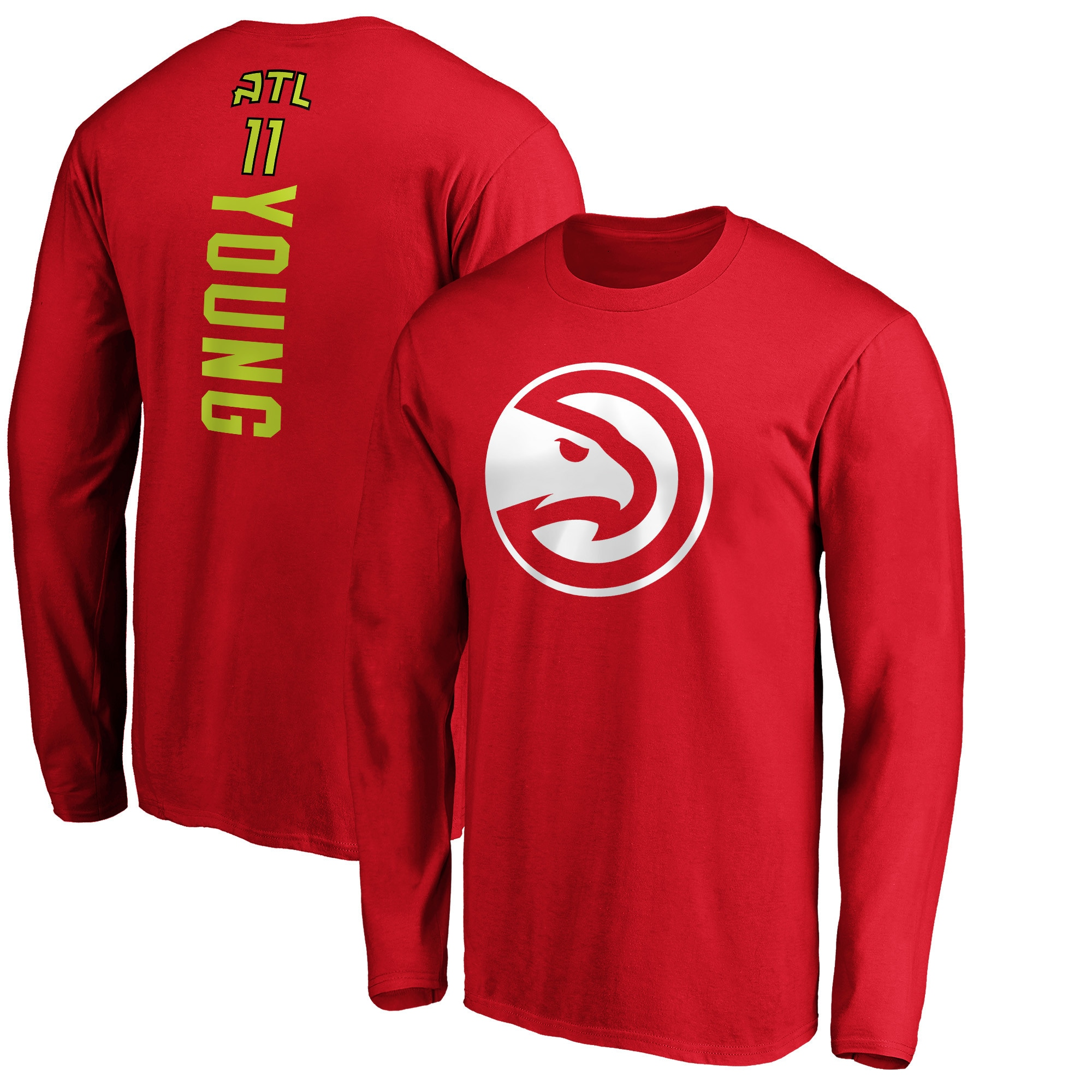 Trae Young Atlanta Hawks Fanatics Branded Team Playmaker Name & Number Long Sleeve T-Shirt - Red