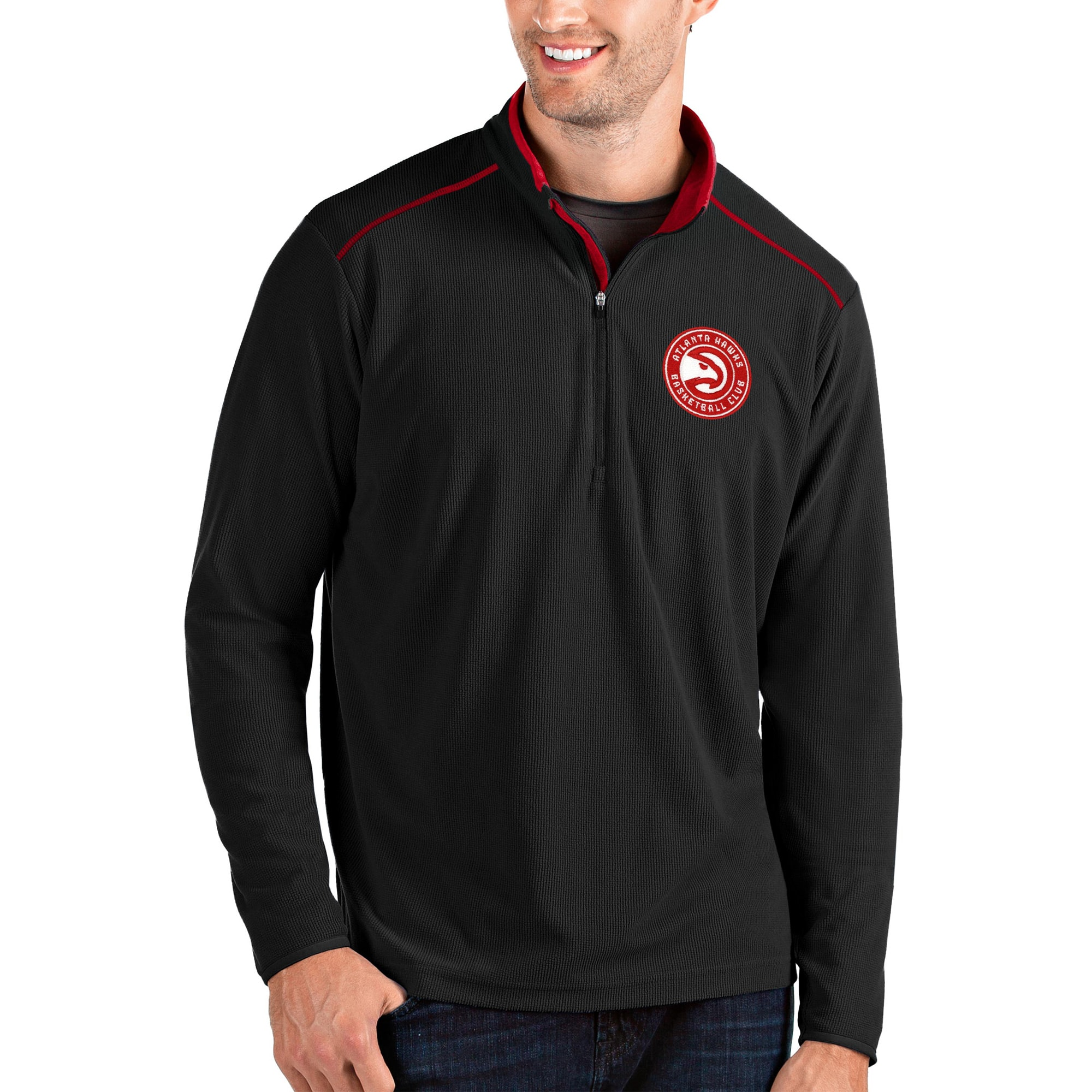 Atlanta Hawks Antigua Glacier Quarter-Zip Pullover Jacket - Black/Red