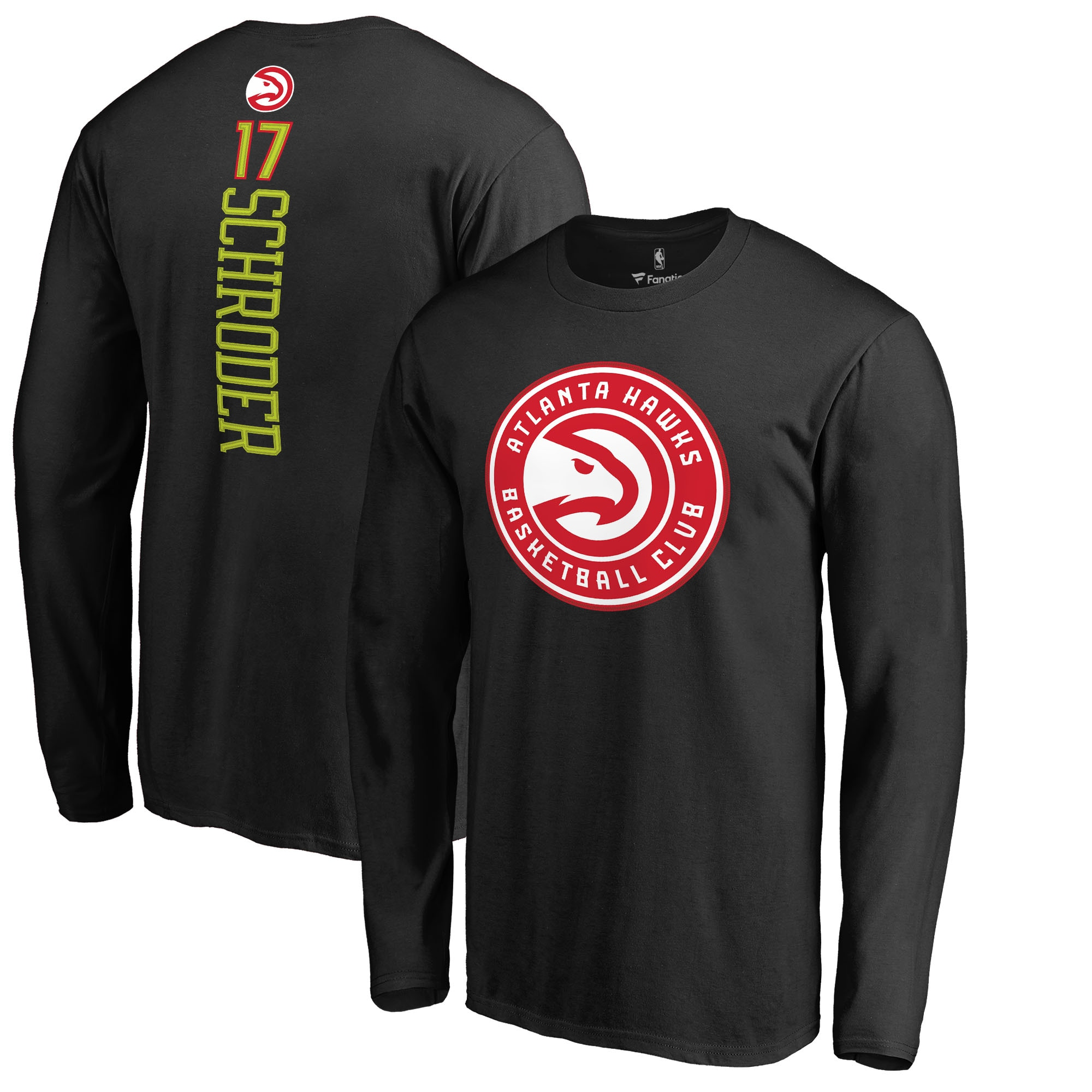 Dennis Schroder Atlanta Hawks Fanatics Branded Long Sleeve Backer Name and Number T-Shirt - Black