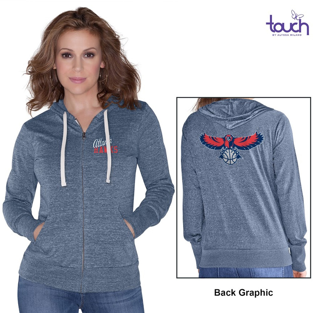 Atlanta Hawks Touch by Alyssa Milano Women's Free Agent Tri-Blend Full Zip Hoodie - Navy Blue