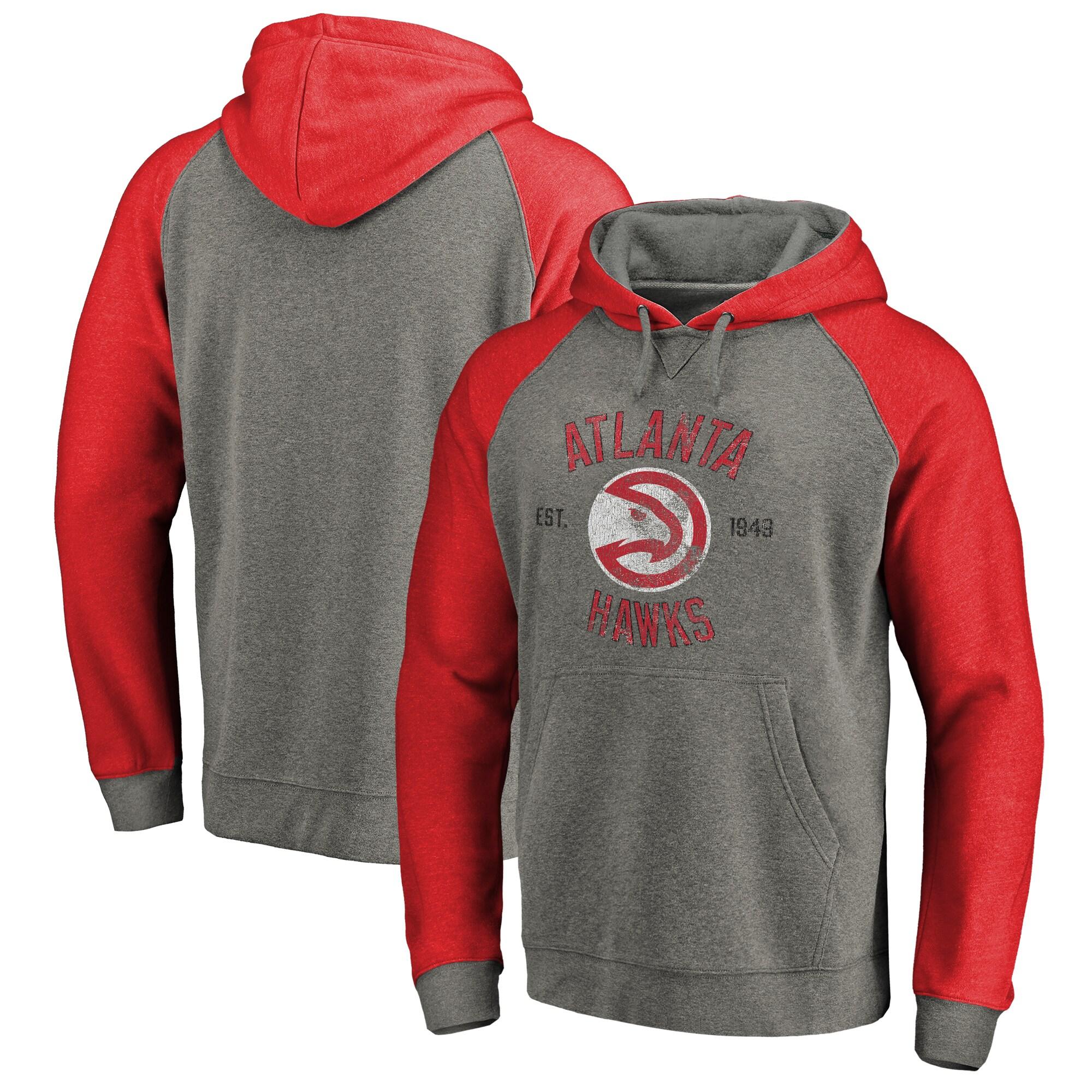 Atlanta Hawks Fanatics Branded Heritage Tri-Blend Raglan Pullover Hoodie - Heathered Gray