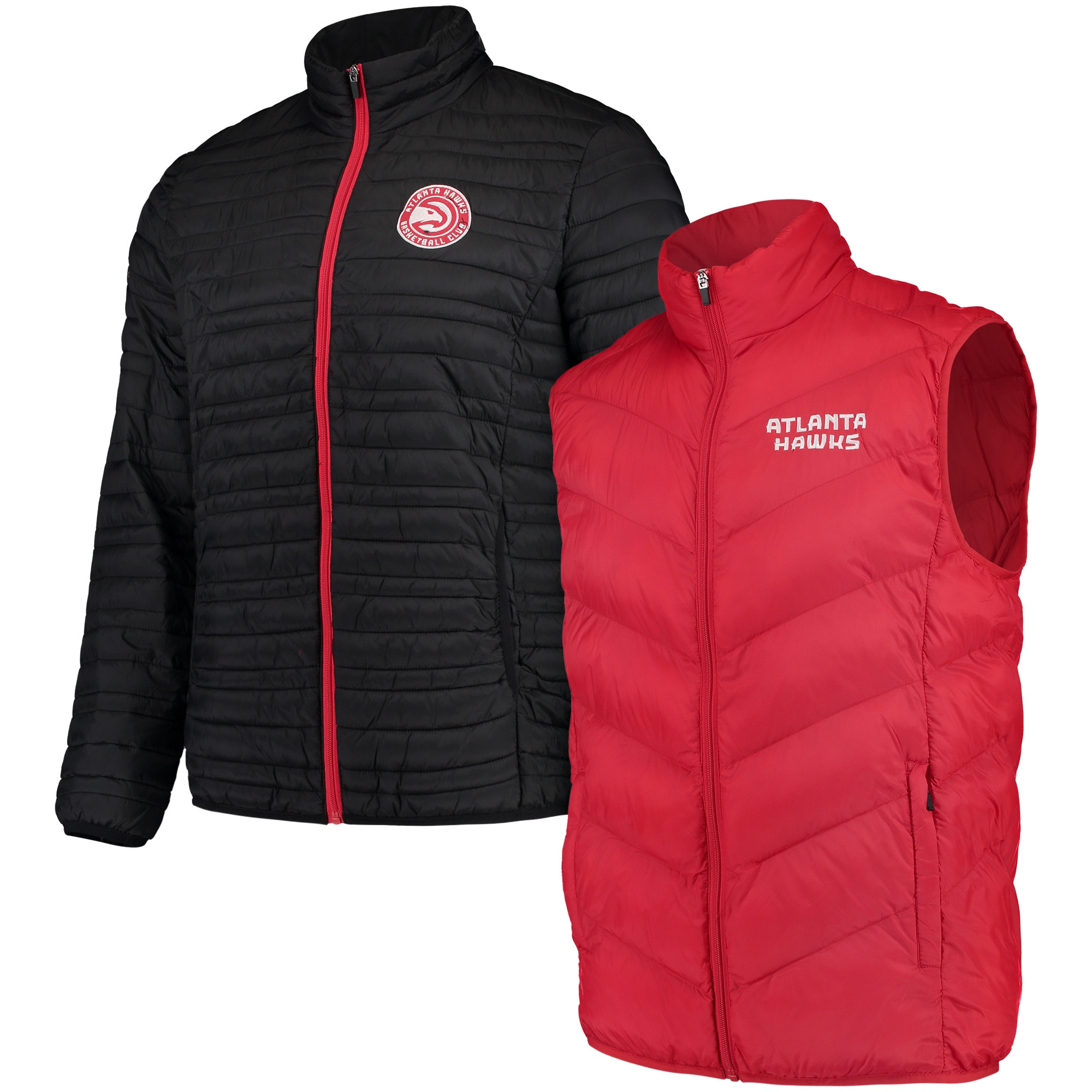 Atlanta Hawks G-III Sports by Carl Banks Three & Out 3-in-1 System Full-Zip Vest & Jacket Set - Red/Black