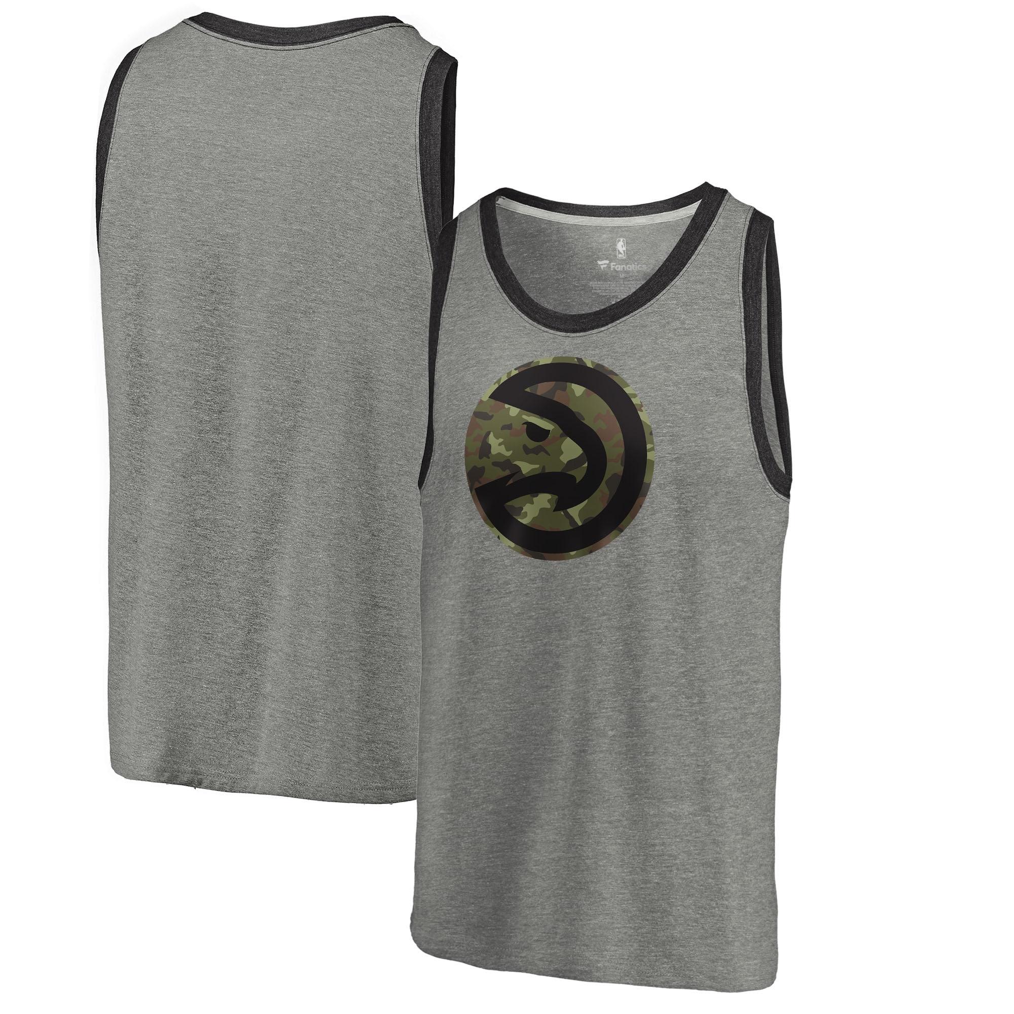 Atlanta Hawks Fanatics Branded Camo Collection Prestige Tri-Blend Tank Top - Heathered Gray