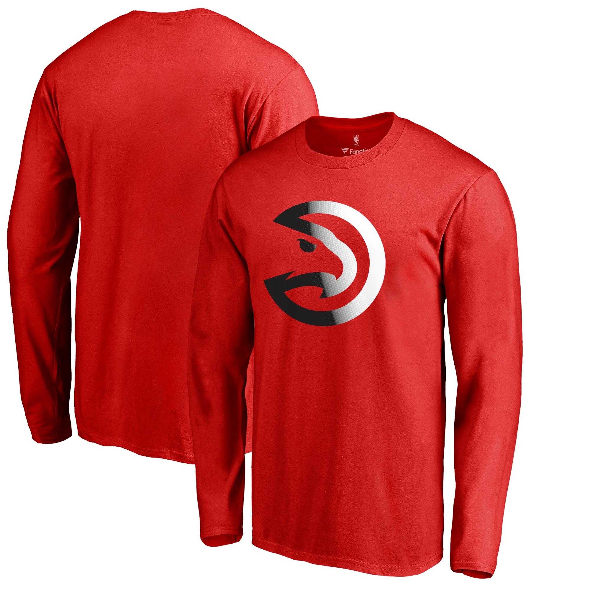 Atlanta Hawks Fanatics Branded Big & Tall Gradient Logo Long Sleeve T-Shirt - Red