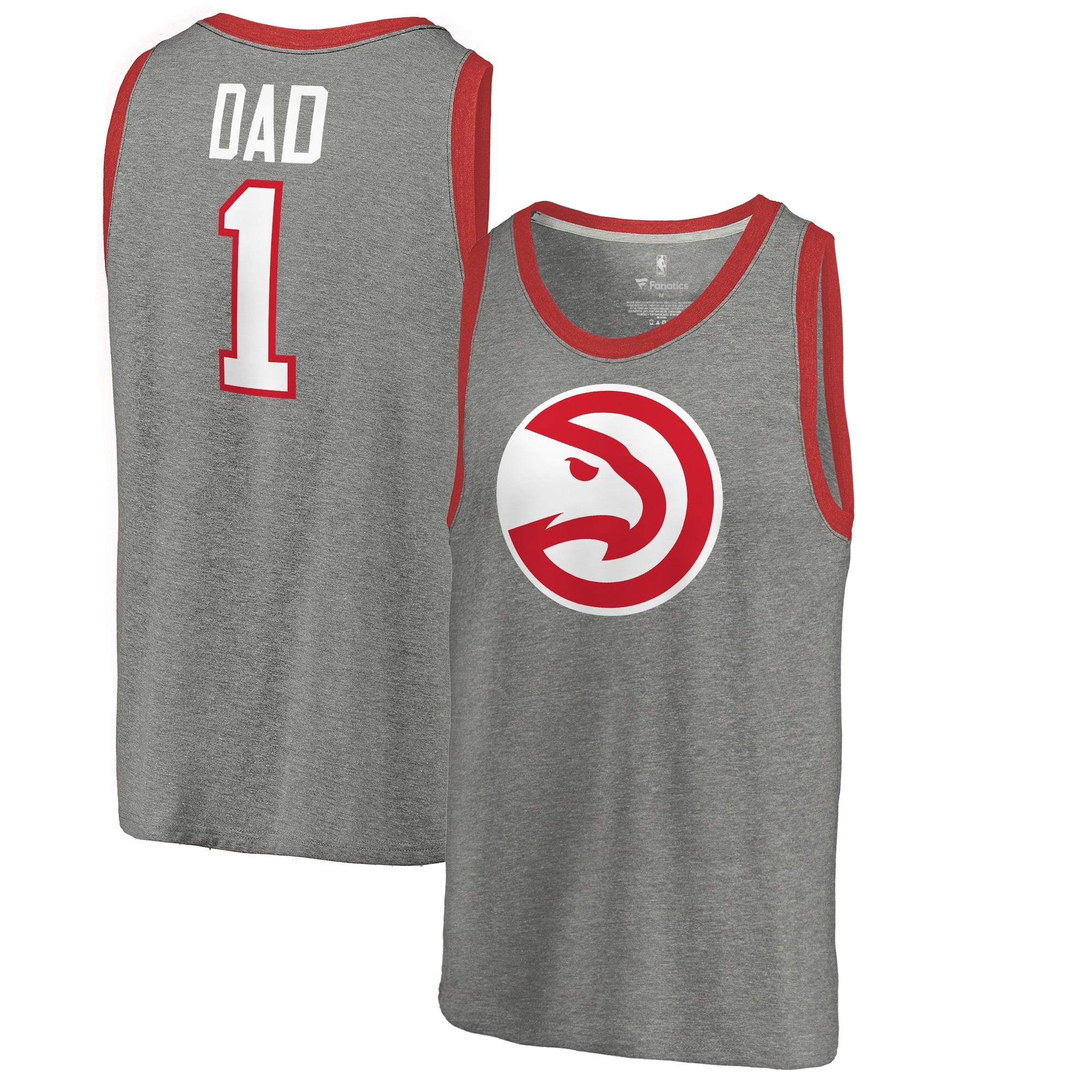 Atlanta Hawks Fanatics Branded #1 Dad Tri-Blend Tank Top - Ash