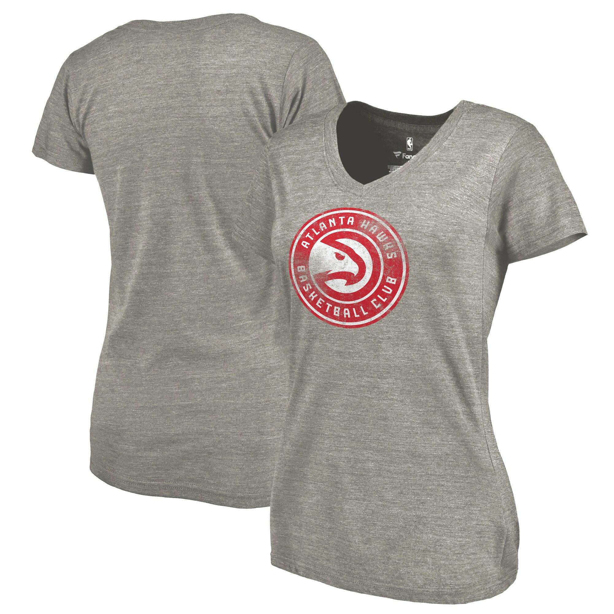 Atlanta Hawks Fanatics Branded Women's Distressed Logo Tri-Blend V-Neck T-Shirt - Ash