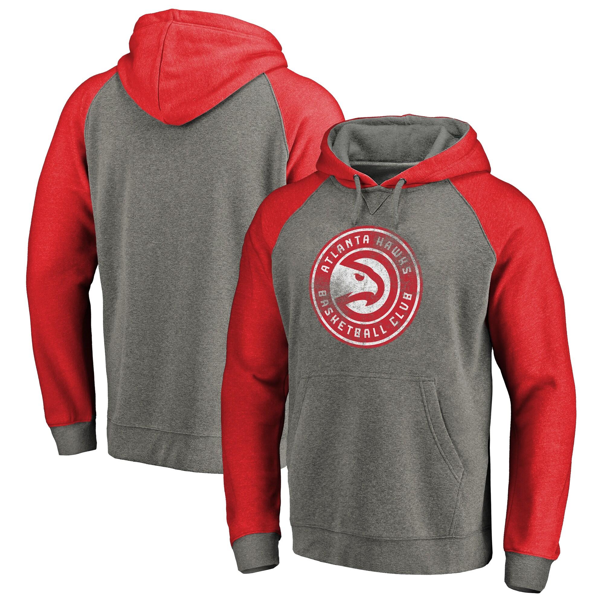 Atlanta Hawks Fanatics Branded Distressed Logo Tri-Blend Big & Tall Pullover Hoodie - Ash/Red