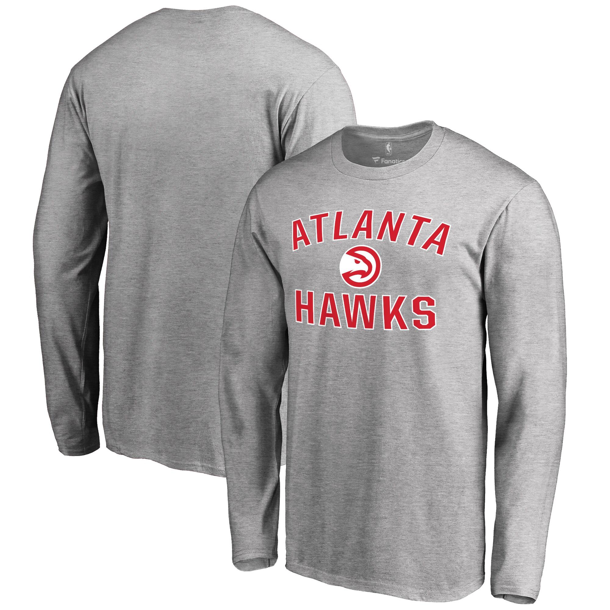 Atlanta Hawks Big & Tall Victory Arch Long Sleeve T-Shirt - Ash