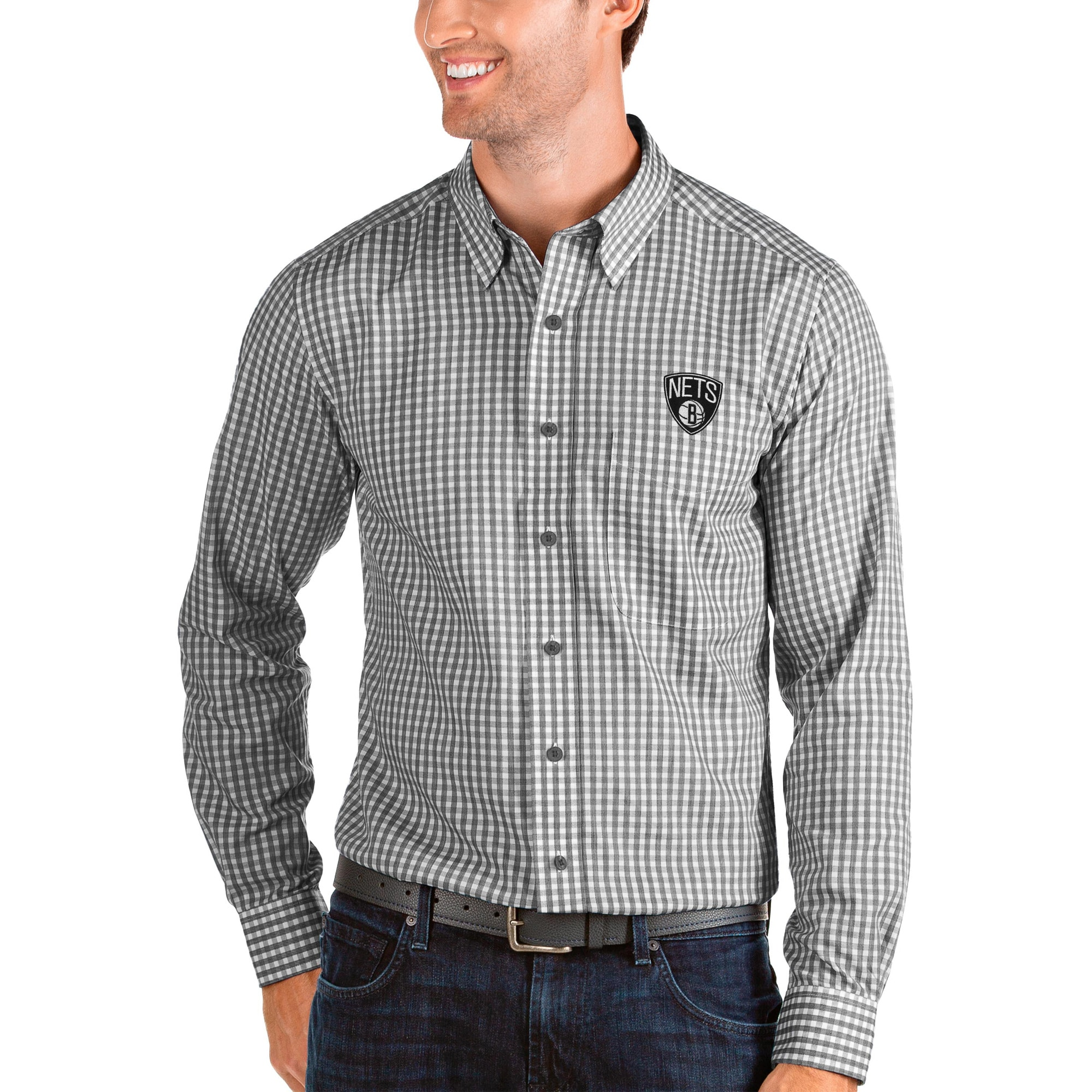 Brooklyn Nets Antigua Structure Long Sleeve Button-Up Shirt - Black/White