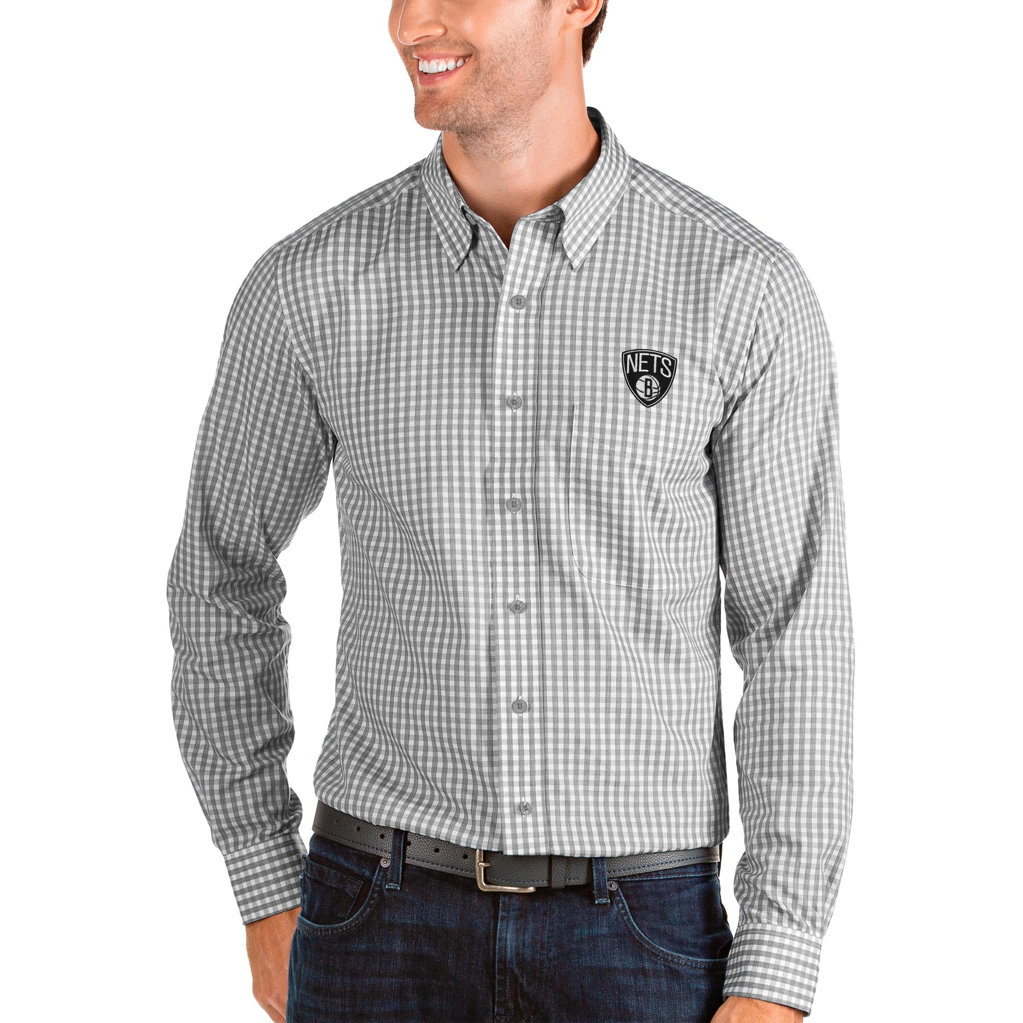 Brooklyn Nets Antigua Structure Long Sleeve Button-Up Shirt - Charcoal/White