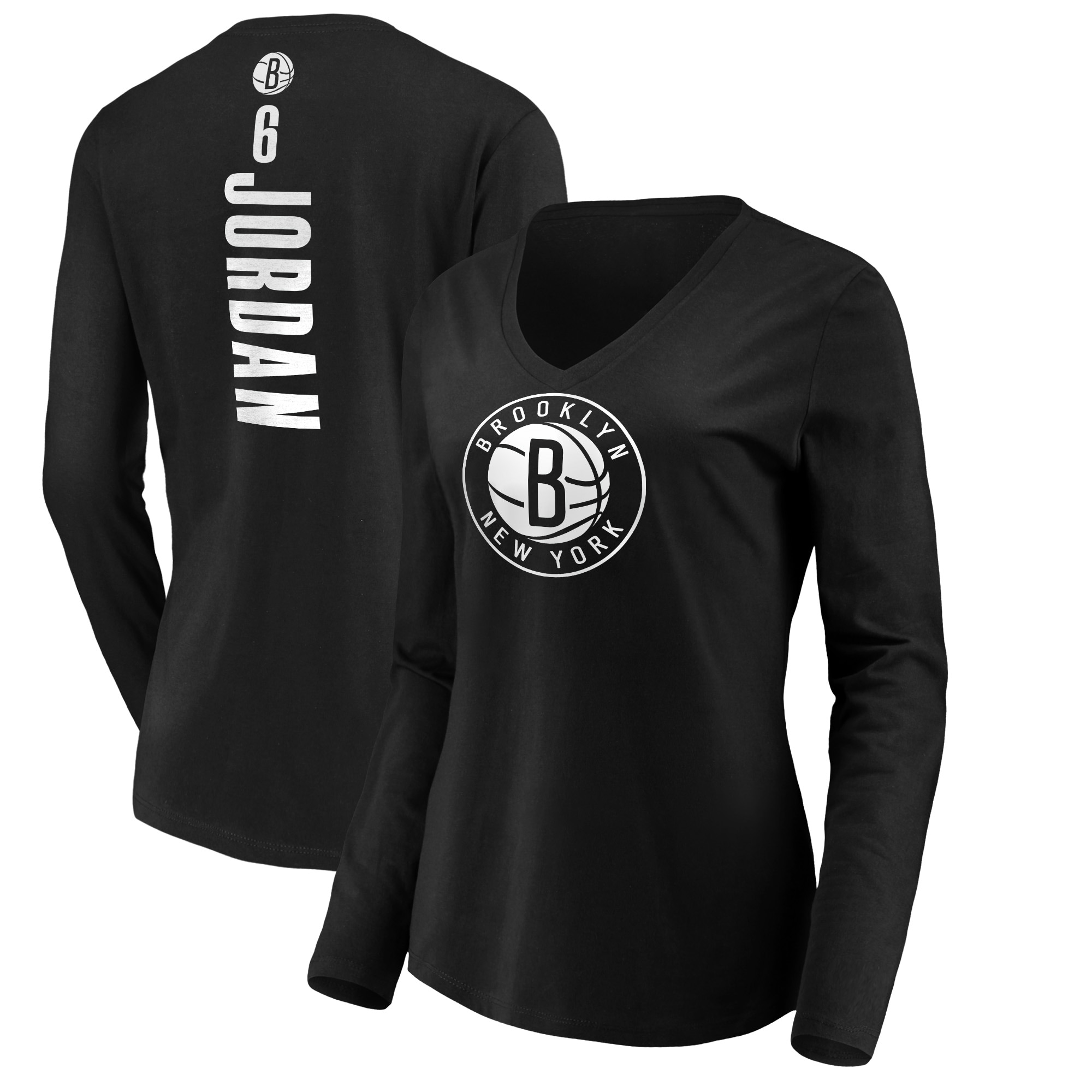 DeAndre Jordan Brooklyn Nets Fanatics Branded Women's Playmaker Name & Number Long Sleeve T-Shirt - Black