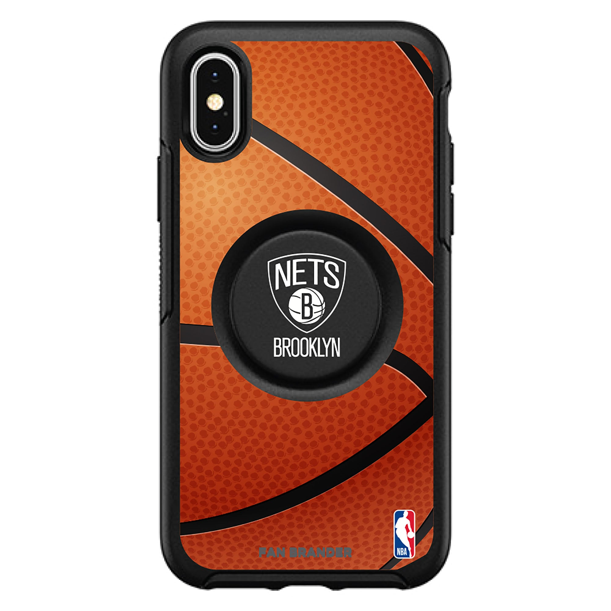 Brooklyn Nets OtterBox Primary Otter+Pop PopGrip Symmetry iPhone Case - Black