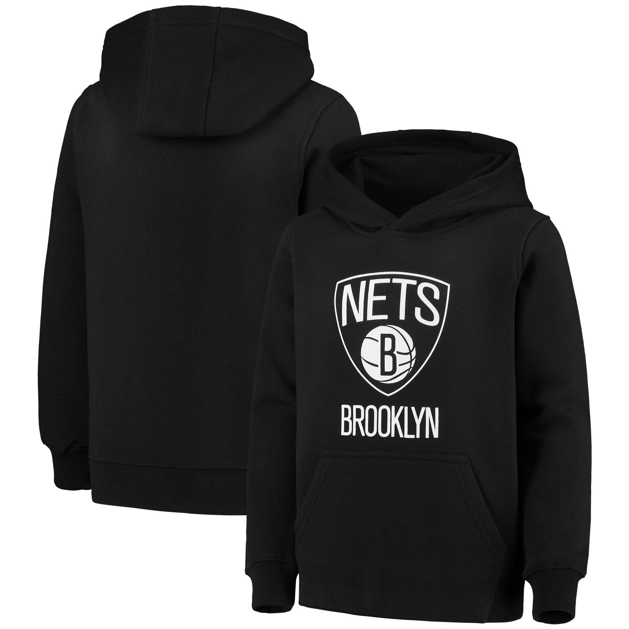 Brooklyn Nets Youth Primary Logo Fleece Pullover Hoodie - Black
