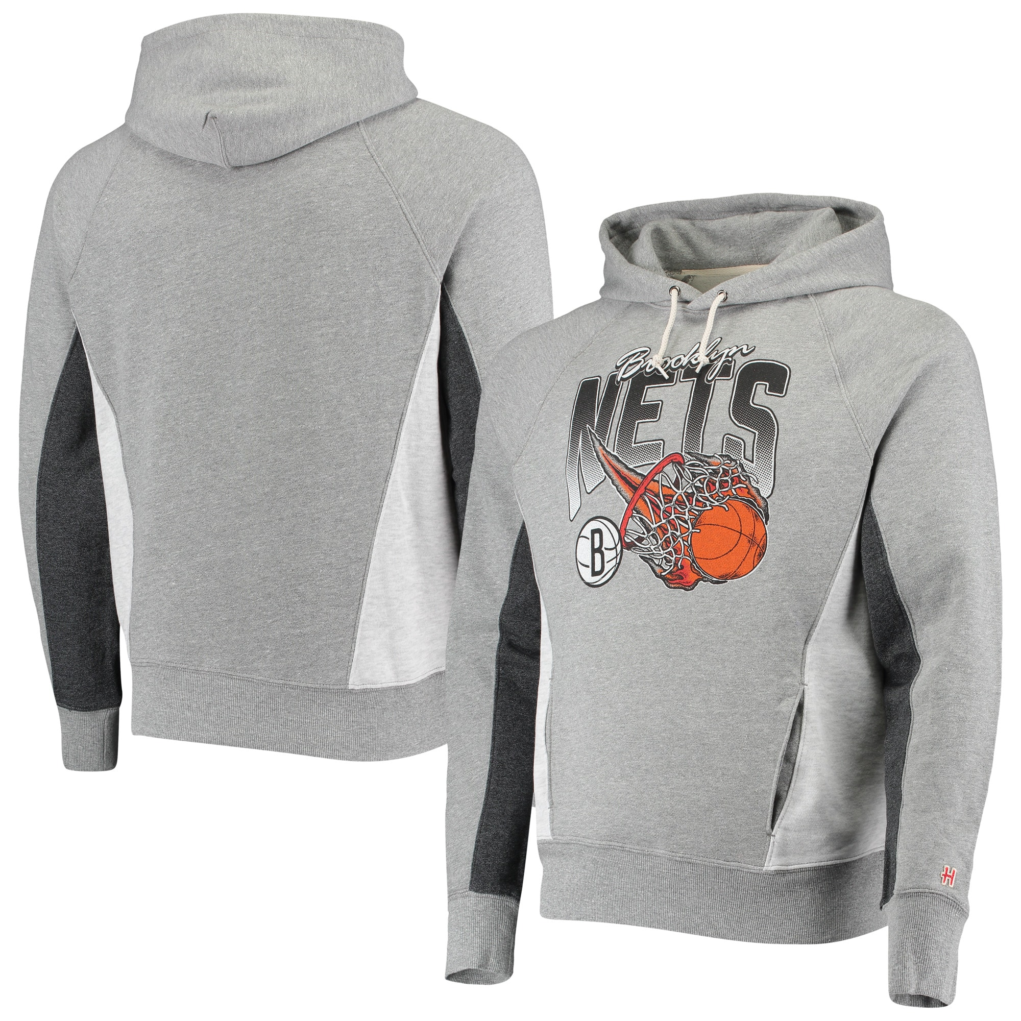 Brooklyn Nets Homage On Fire Tri-Blend Pullover Hoodie - Gray/Charcoal
