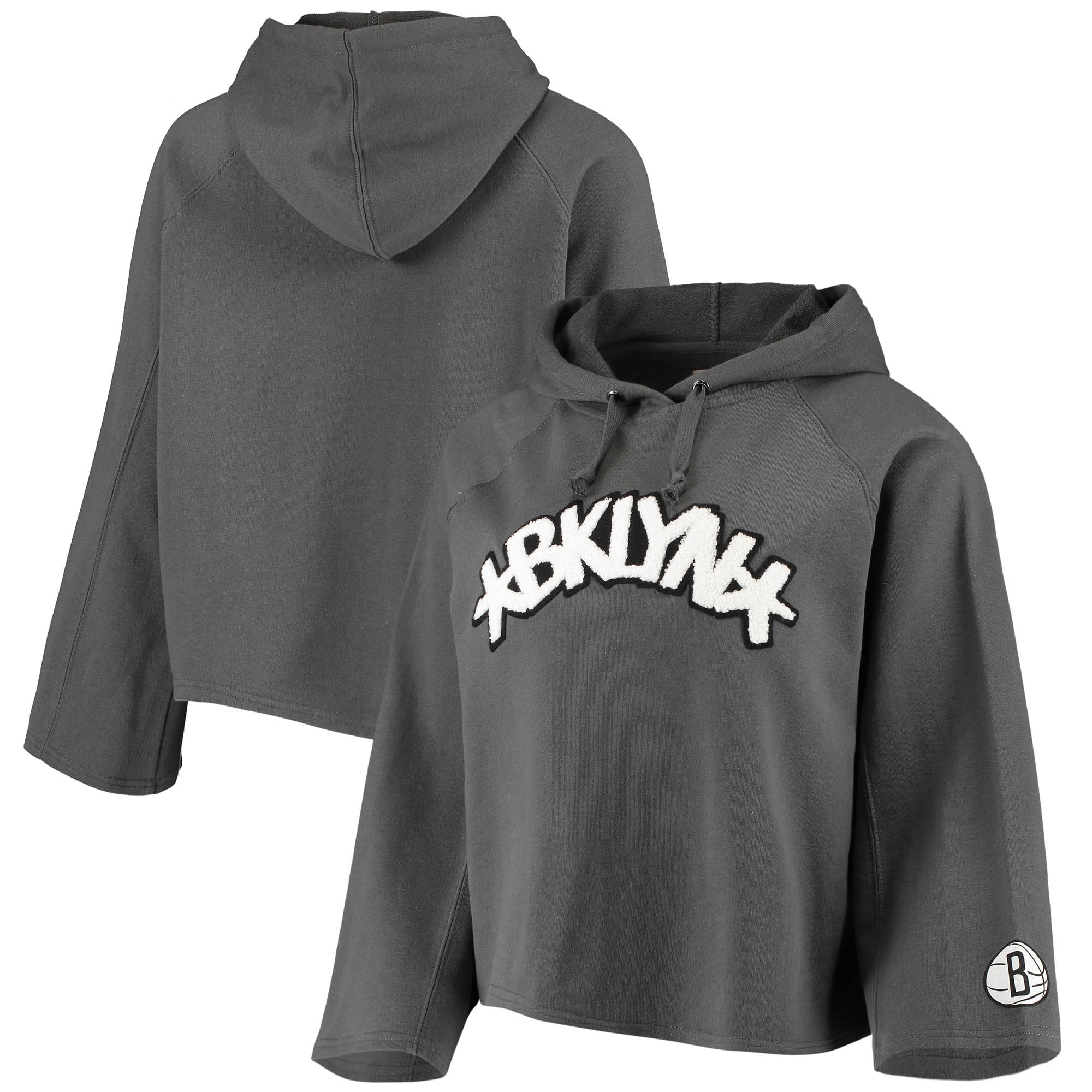 Brooklyn Nets Sportiqe Women's Chenille Logo Bell Sleeve Cropped Pullover Hoodie - Heathered Gray
