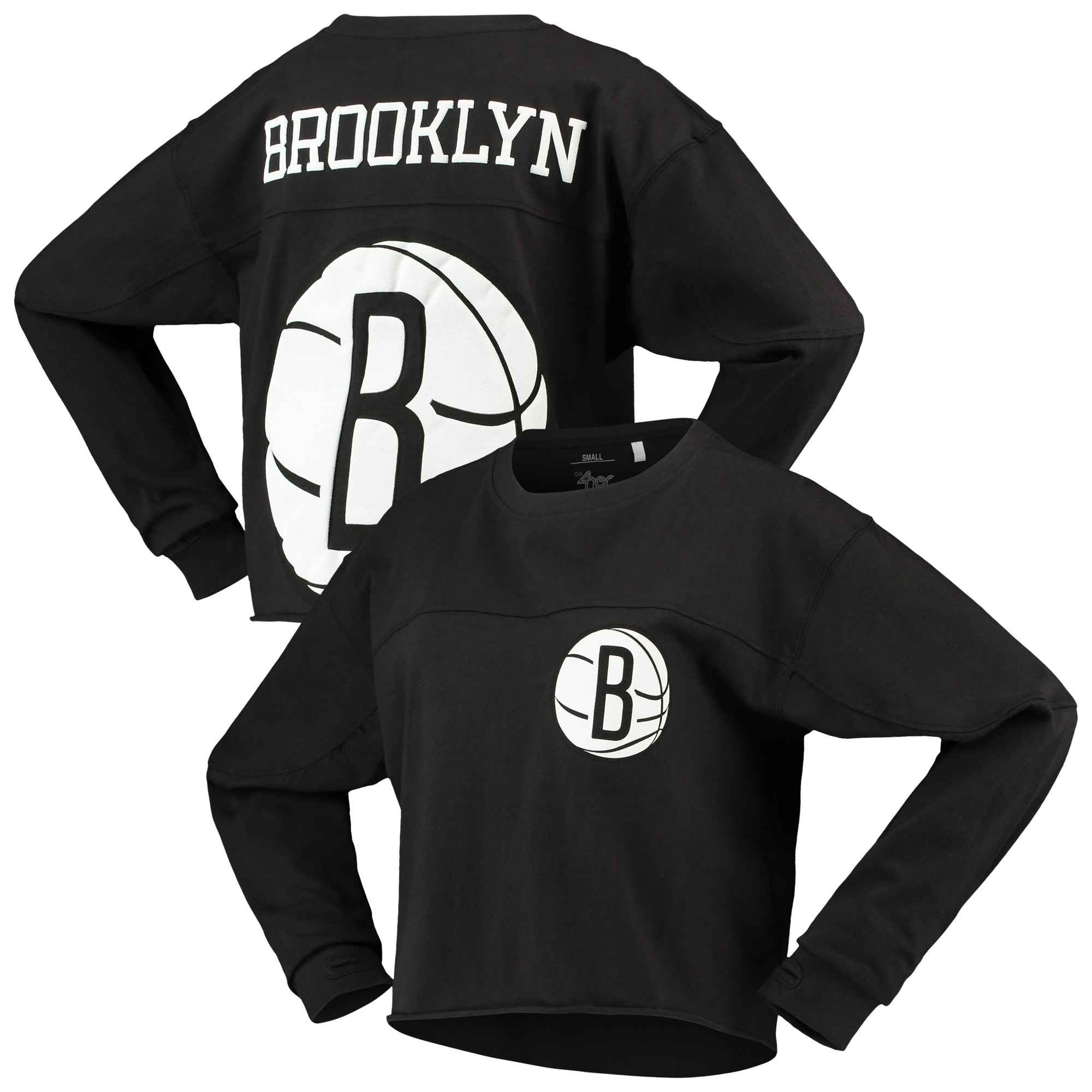 Brooklyn Nets G-III Sports by Carl Banks Women's Pressbox Oversized Raw Edge Long Sleeve T-Shirt - Black
