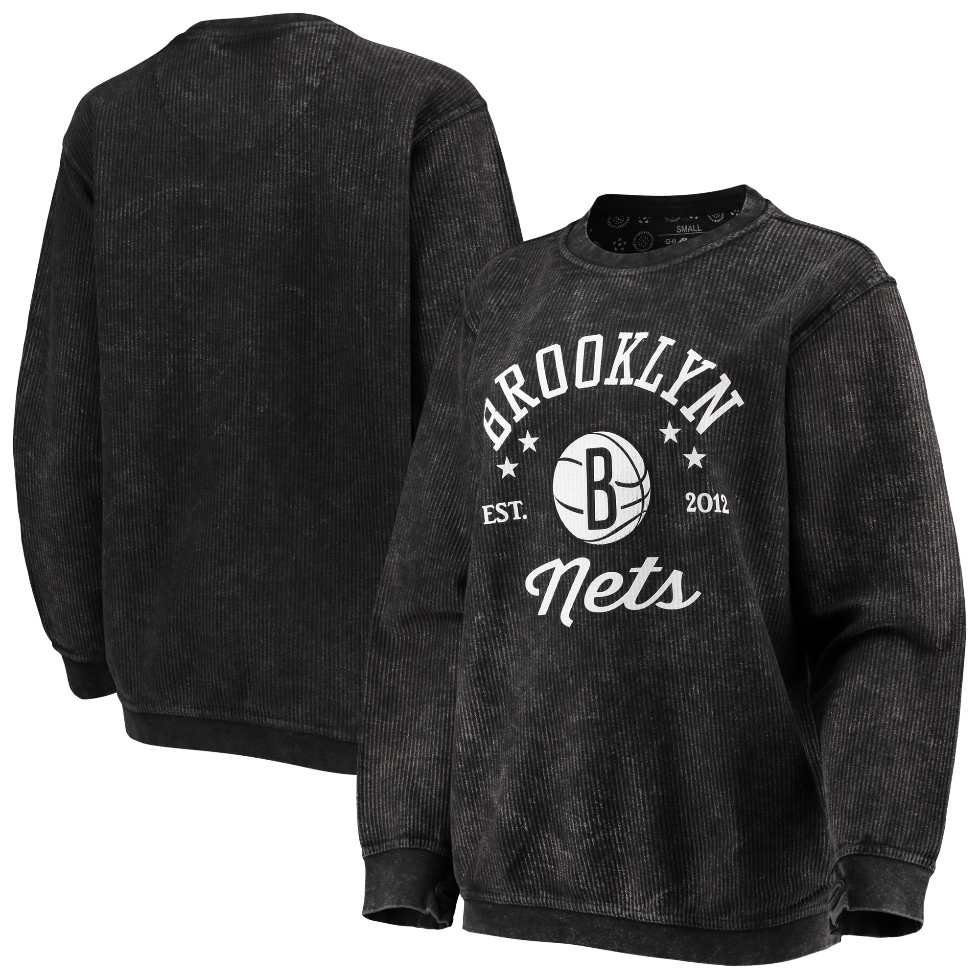 Brooklyn Nets G-III Sports by Carl Banks Women's Slouchy Comfy Cord Crewneck Pullover Sweatshirt - Black
