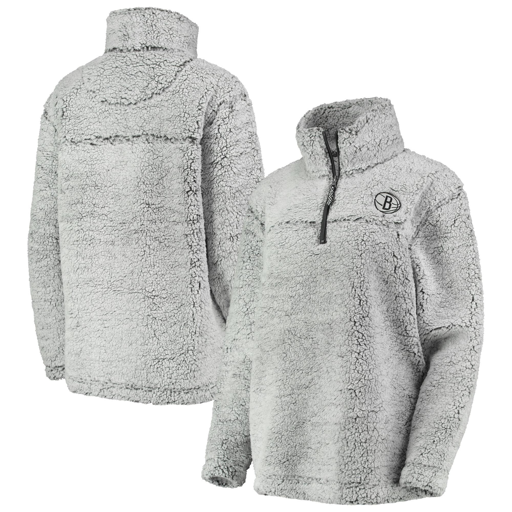 Brooklyn Nets G-III Sports by Carl Banks Women's Sherpa Quarter-Zip Pullover Jacket - Gray
