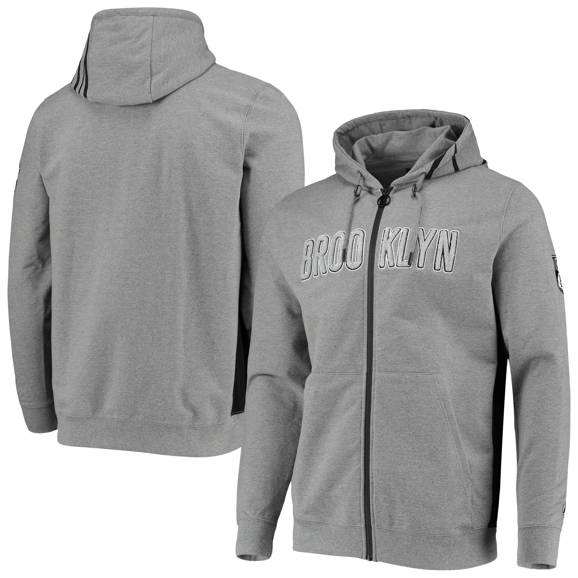 Brooklyn Nets Core Chenille French Terry Tri-Blend Full-Zip Hoodie - Gray