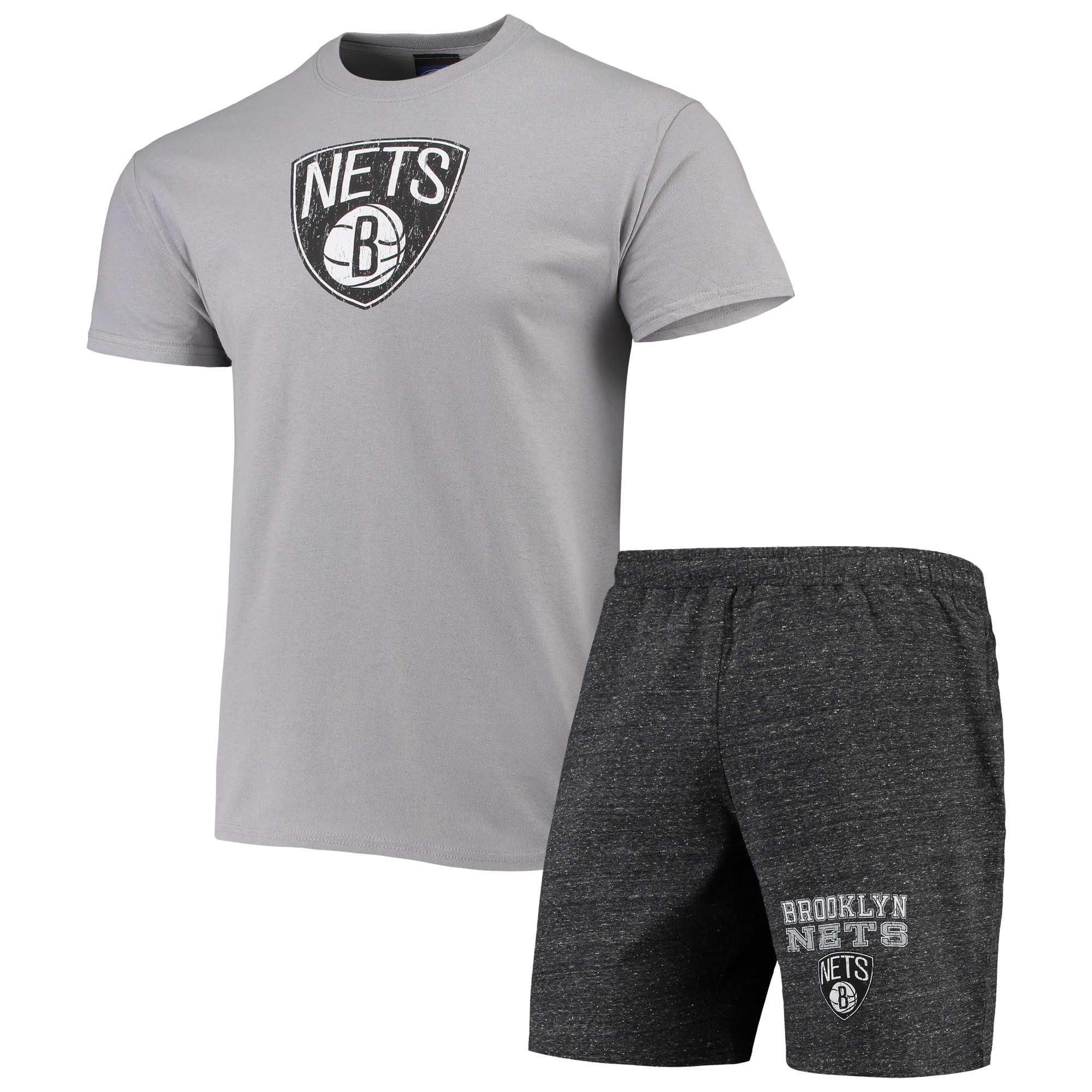 Brooklyn Nets Concepts Sport Pitch T-Shirt & Shorts Set - Gray/Charcoal