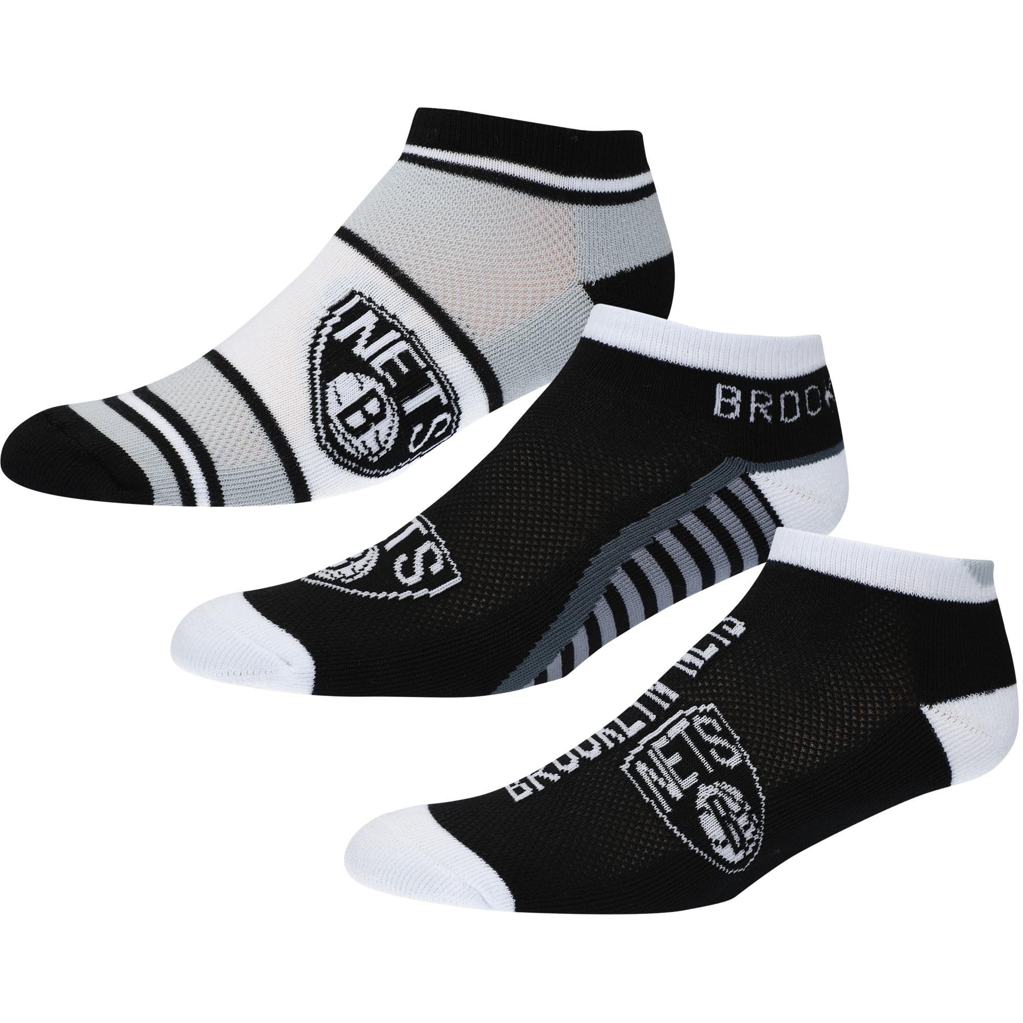 Brooklyn Nets For Bare Feet Three-Pack Show Me The Money Ankle Socks