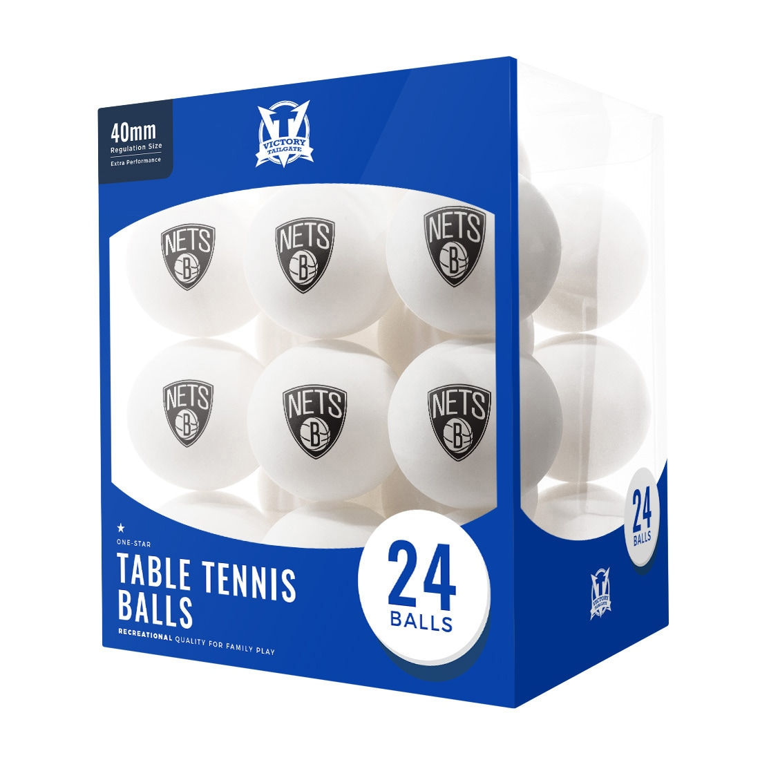 Brooklyn Nets 24-Count Logo Table Tennis Balls