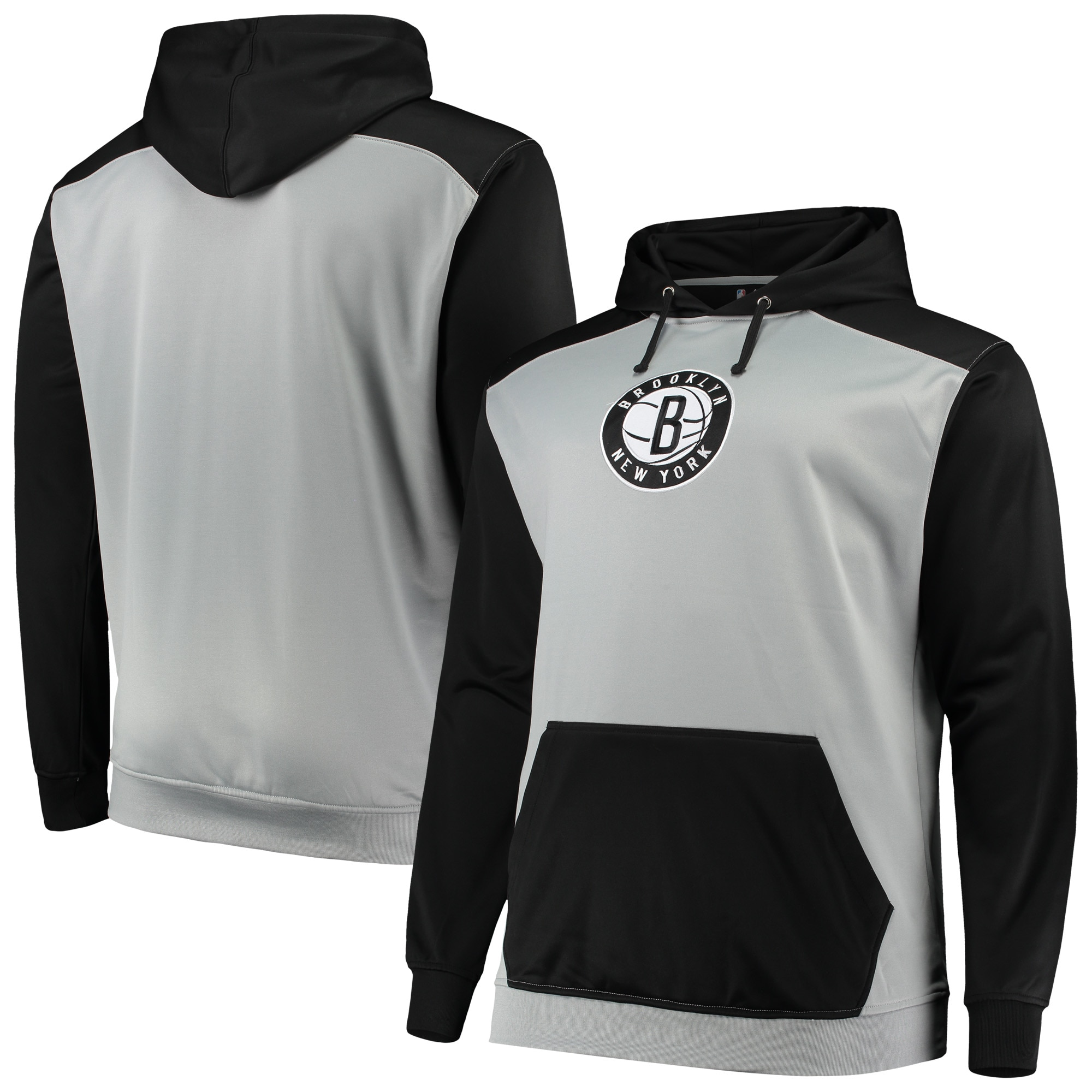Brooklyn Nets Colorblock Raglan Pouch Pullover Hoodie - Gray/Black