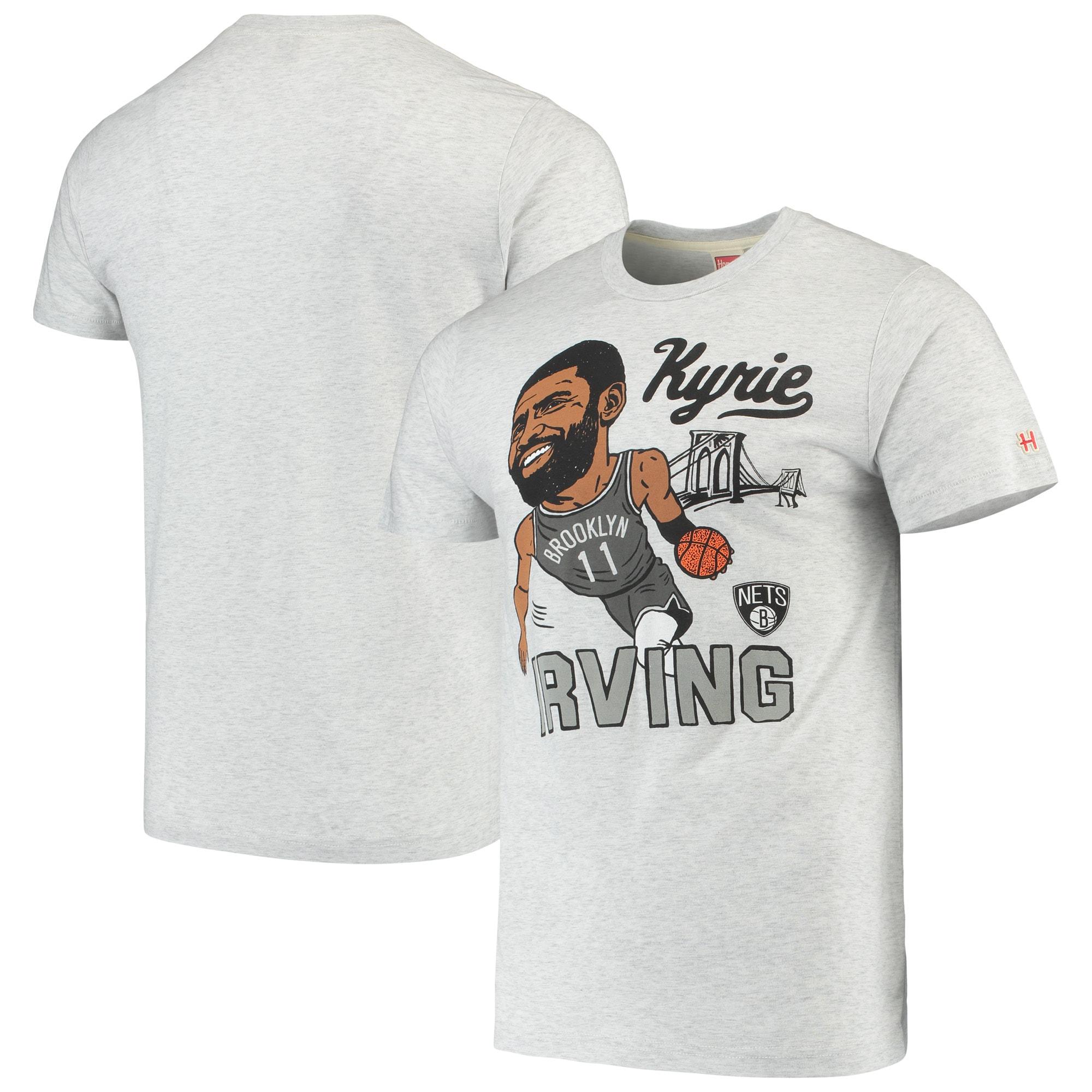 Kyrie Irving Brooklyn Nets Caricature Tri-Blend T-Shirt - Gray