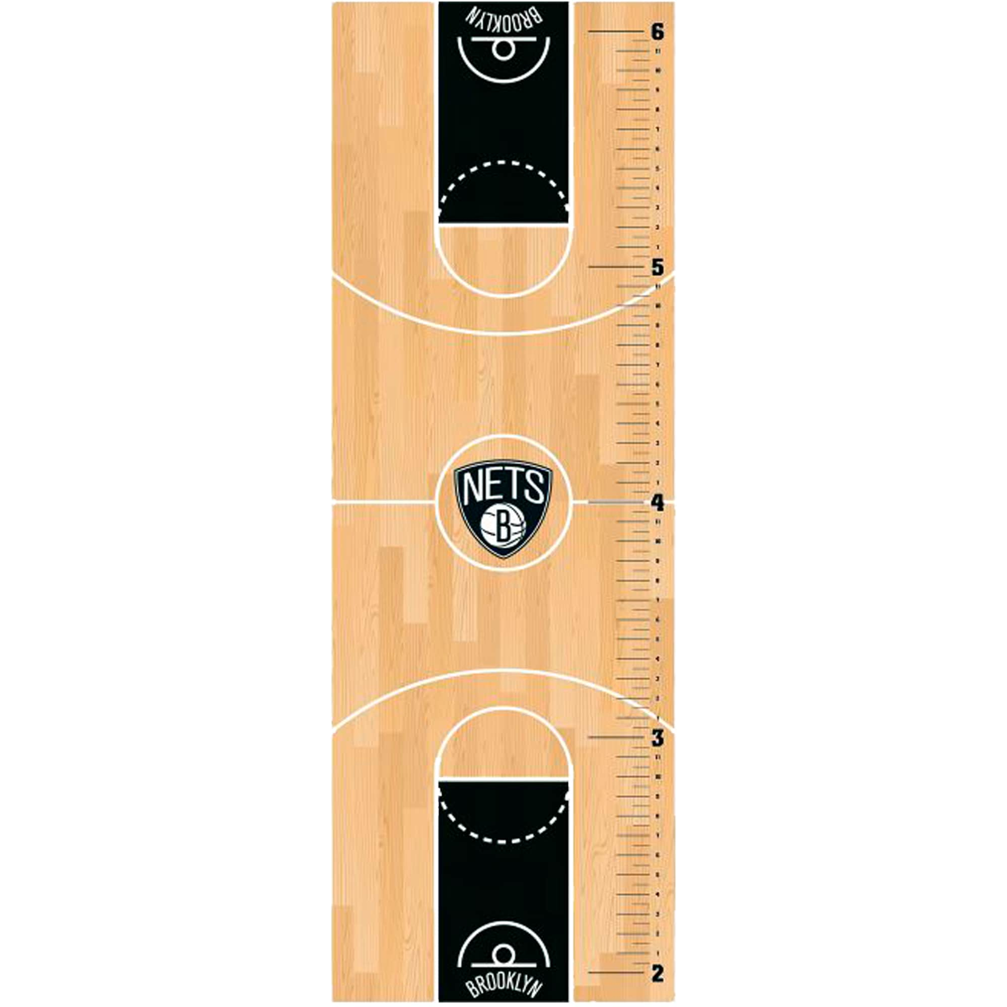 Brooklyn Nets Fathead Basketball Court Large Removable Growth Chart