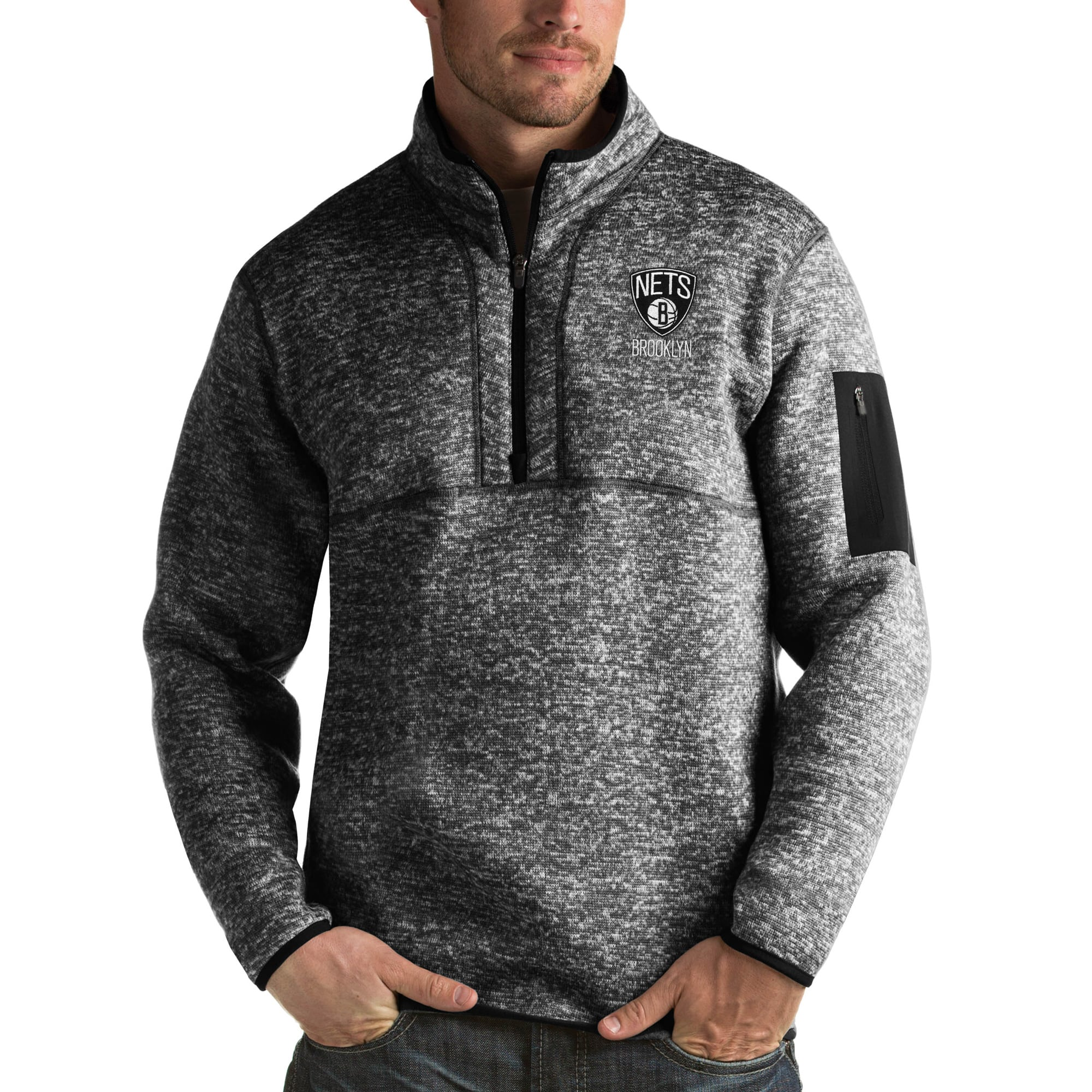 Brooklyn Nets Antigua Fortune Big & Tall Quarter-Zip Pullover Jacket - Heather Black