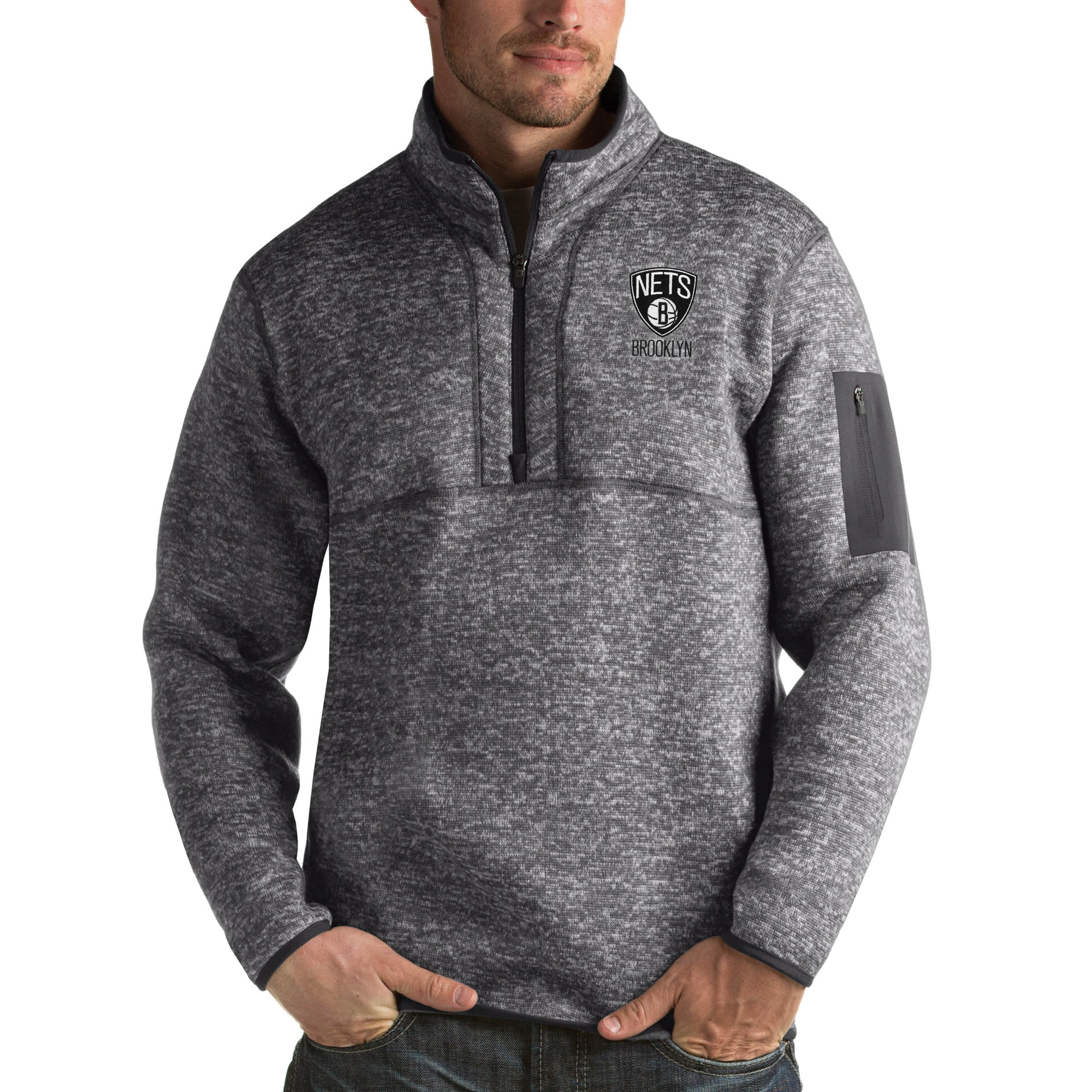 Brooklyn Nets Antigua Fortune Big & Tall Quarter-Zip Pullover Jacket - Charcoal