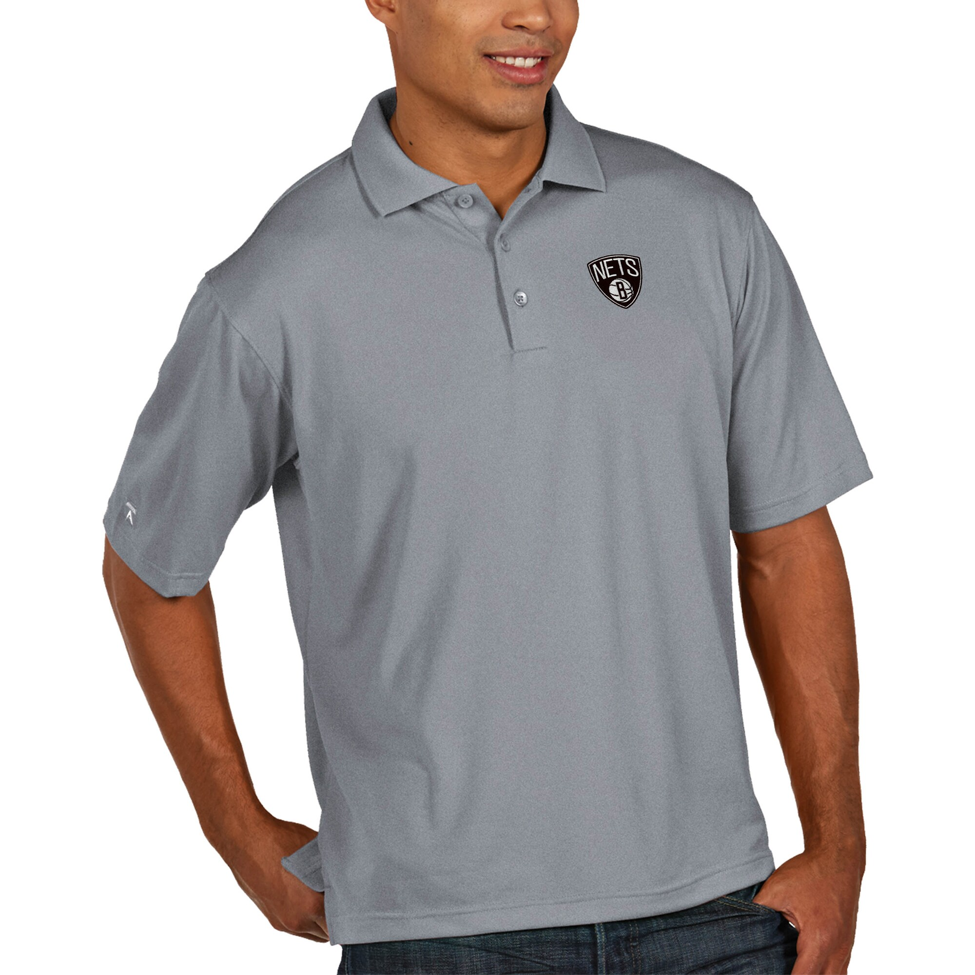 Brooklyn Nets Antigua Pique Xtra Lite Big & Tall Polo - Heather Gray