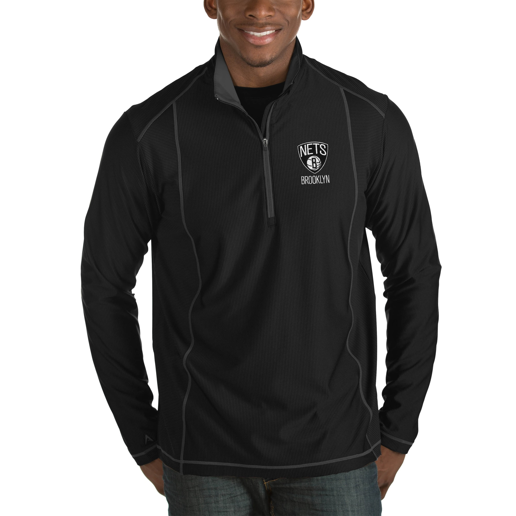 Brooklyn Nets Antigua Tempo Big & Tall Half-Zip Pullover Jacket - Black