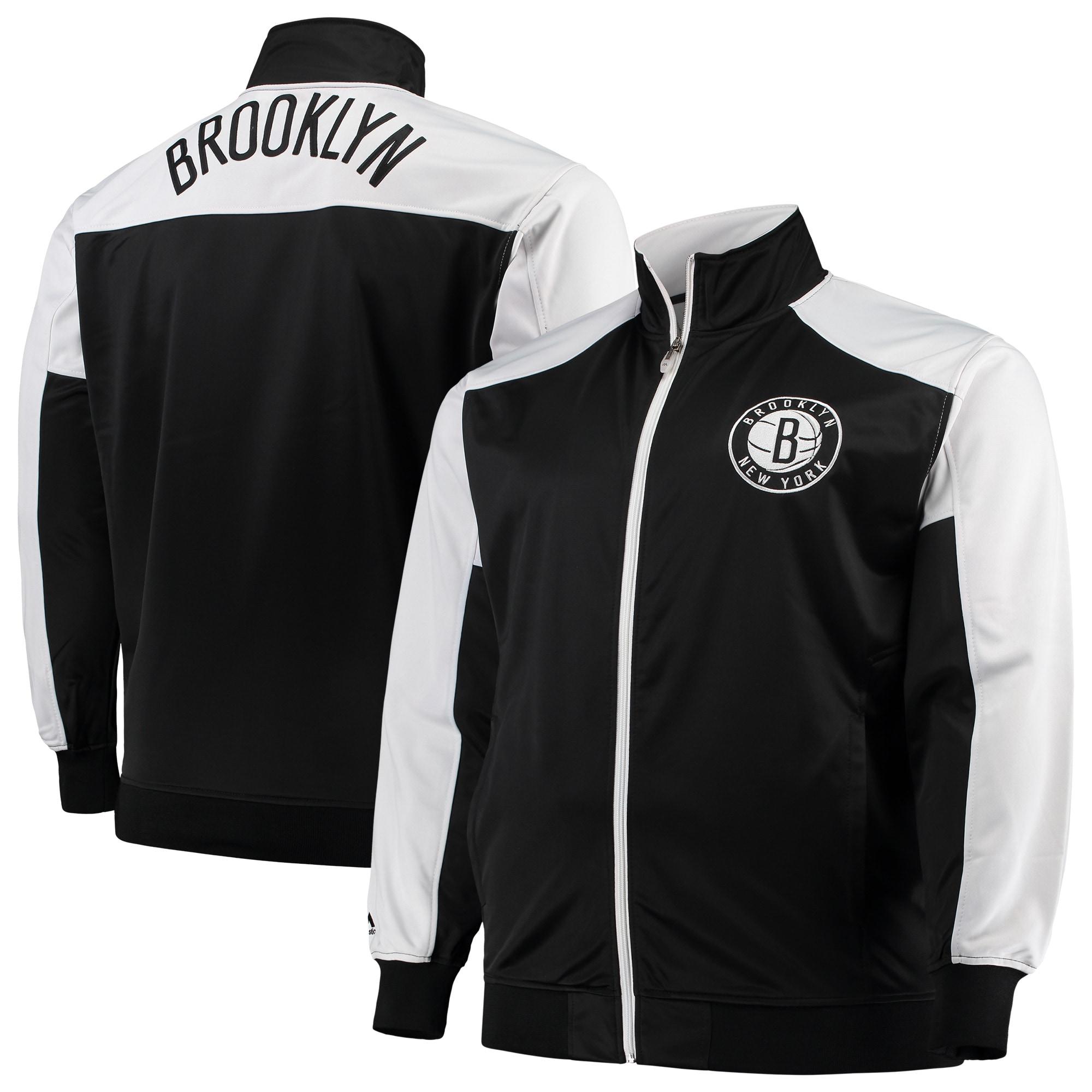 Brooklyn Nets Majestic Big & Tall Tricot Full-Zip Track Jacket - Black/White