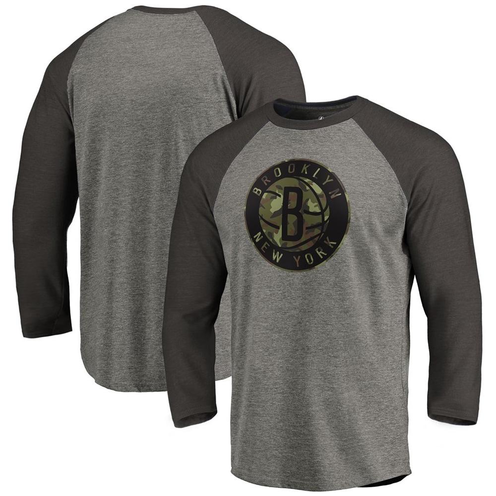 Brooklyn Nets Fanatics Branded Camo Collection Team Prestige 3/4-Sleeve Raglan T-Shirt - Heathered Gray