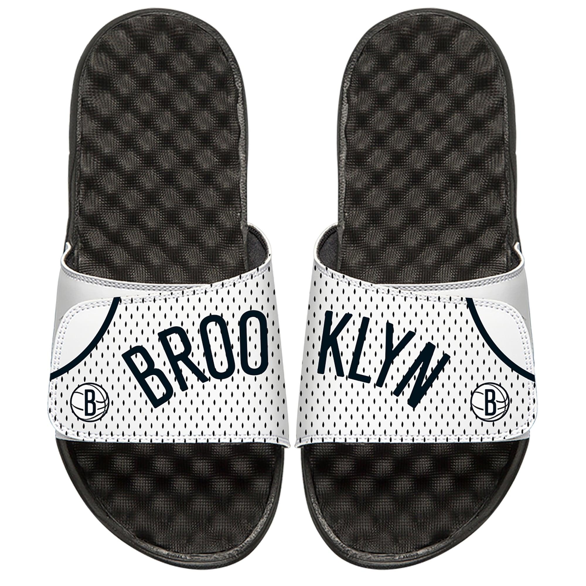 Brooklyn Nets ISlide Home Jersey Split Slide Sandals - White