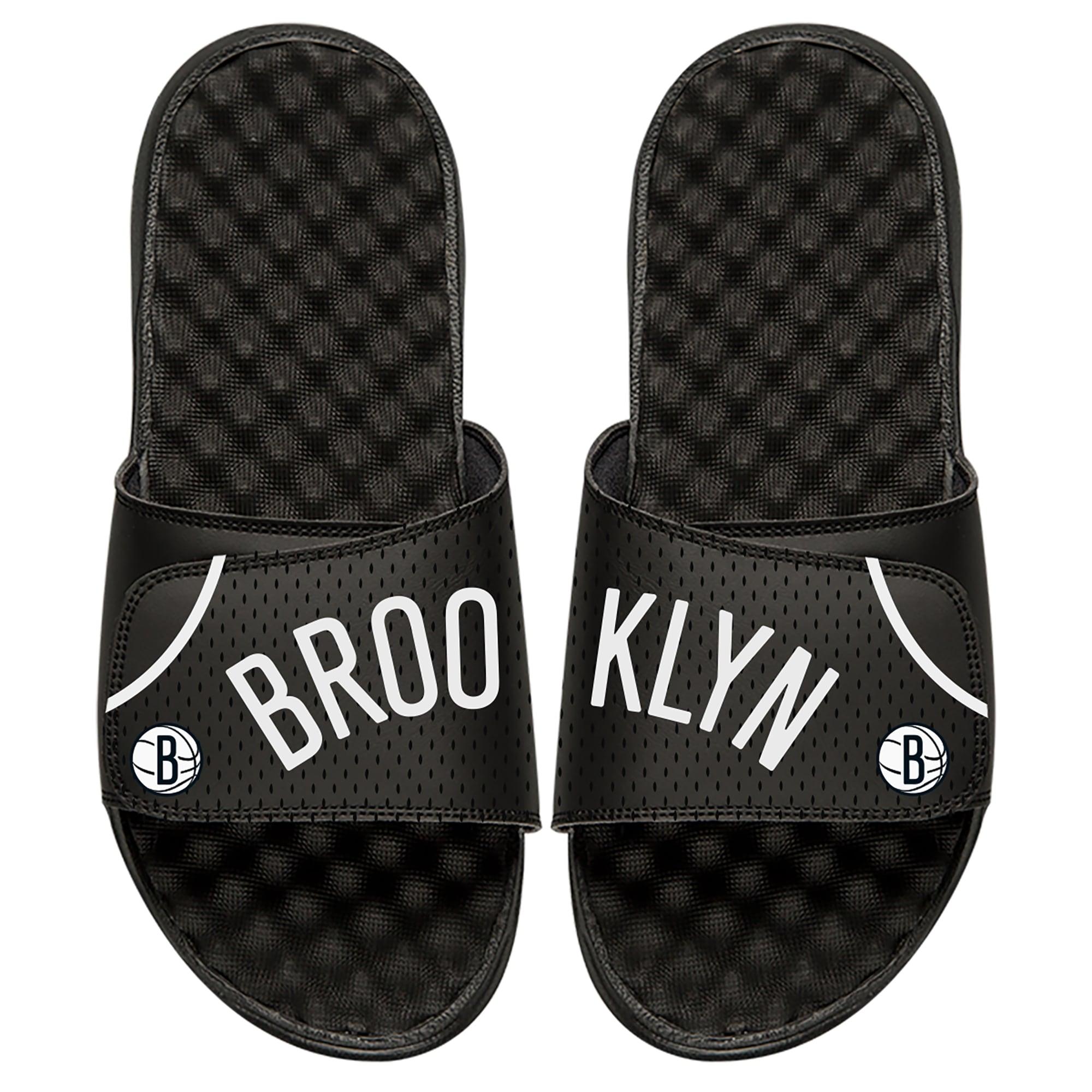 Brooklyn Nets ISlide Youth Away Jersey Slide Sandals - Black