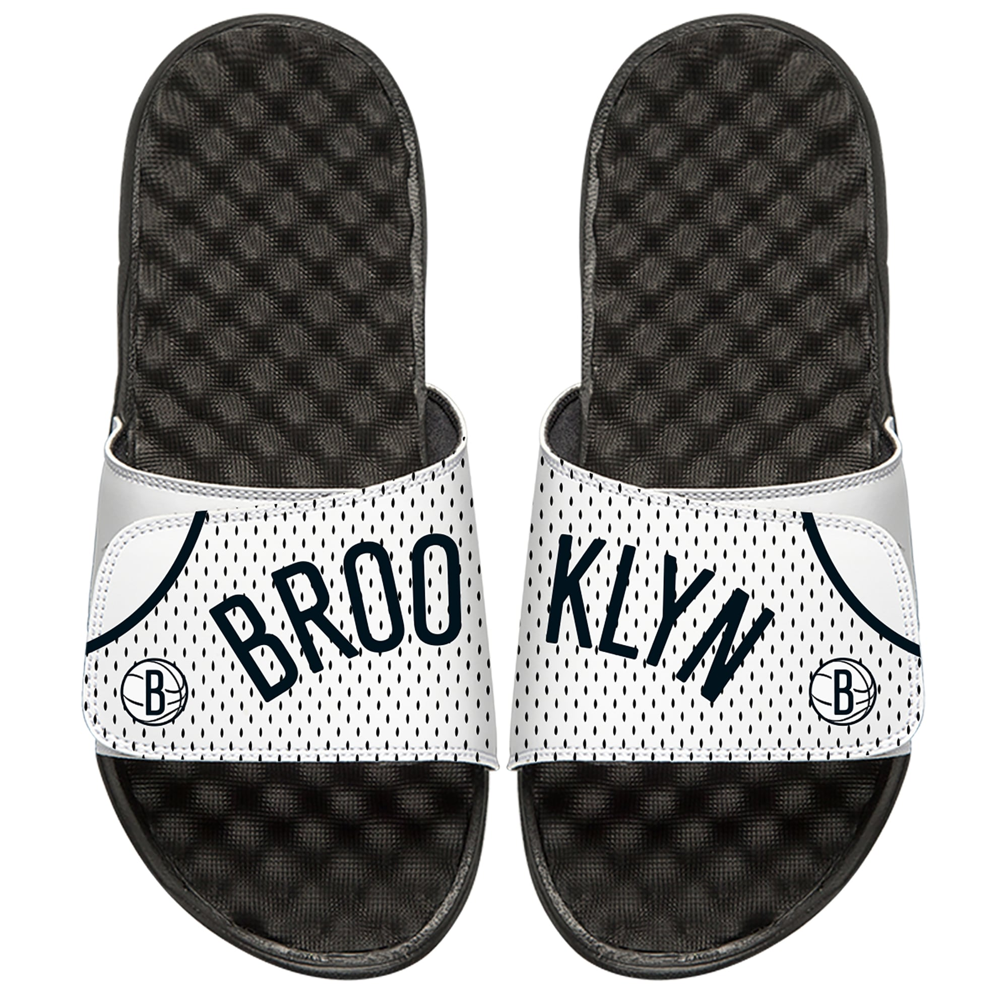 Brooklyn Nets ISlide Youth Home Jersey Slide Sandals - White