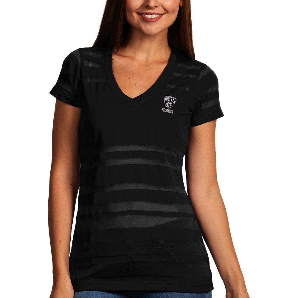 Brooklyn Nets Antigua Women's Juke Burnout V-Neck T-Shirt - Black