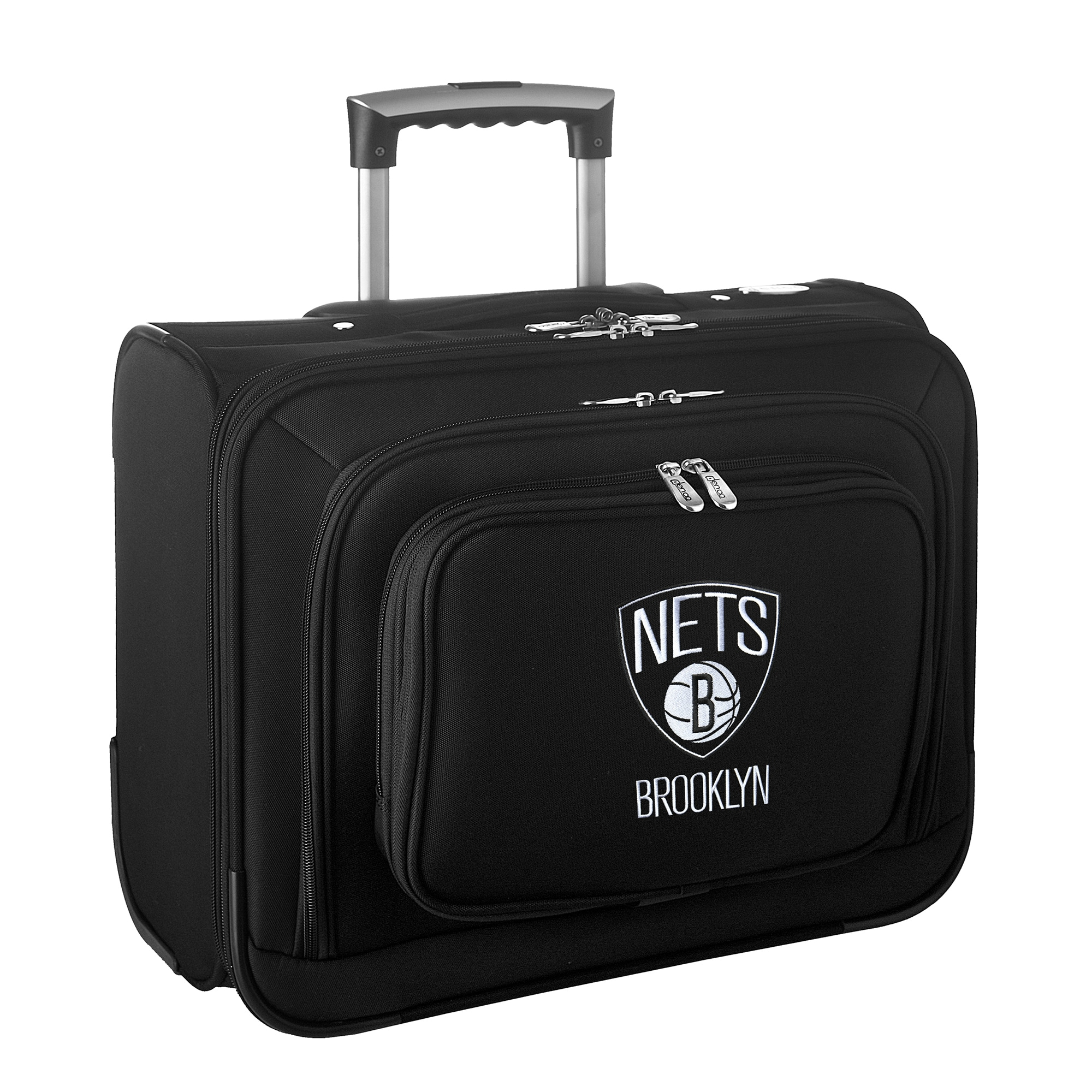 "Brooklyn Nets 14"" 2-Wheeled Laptop Overnighter Travel Case - Black"